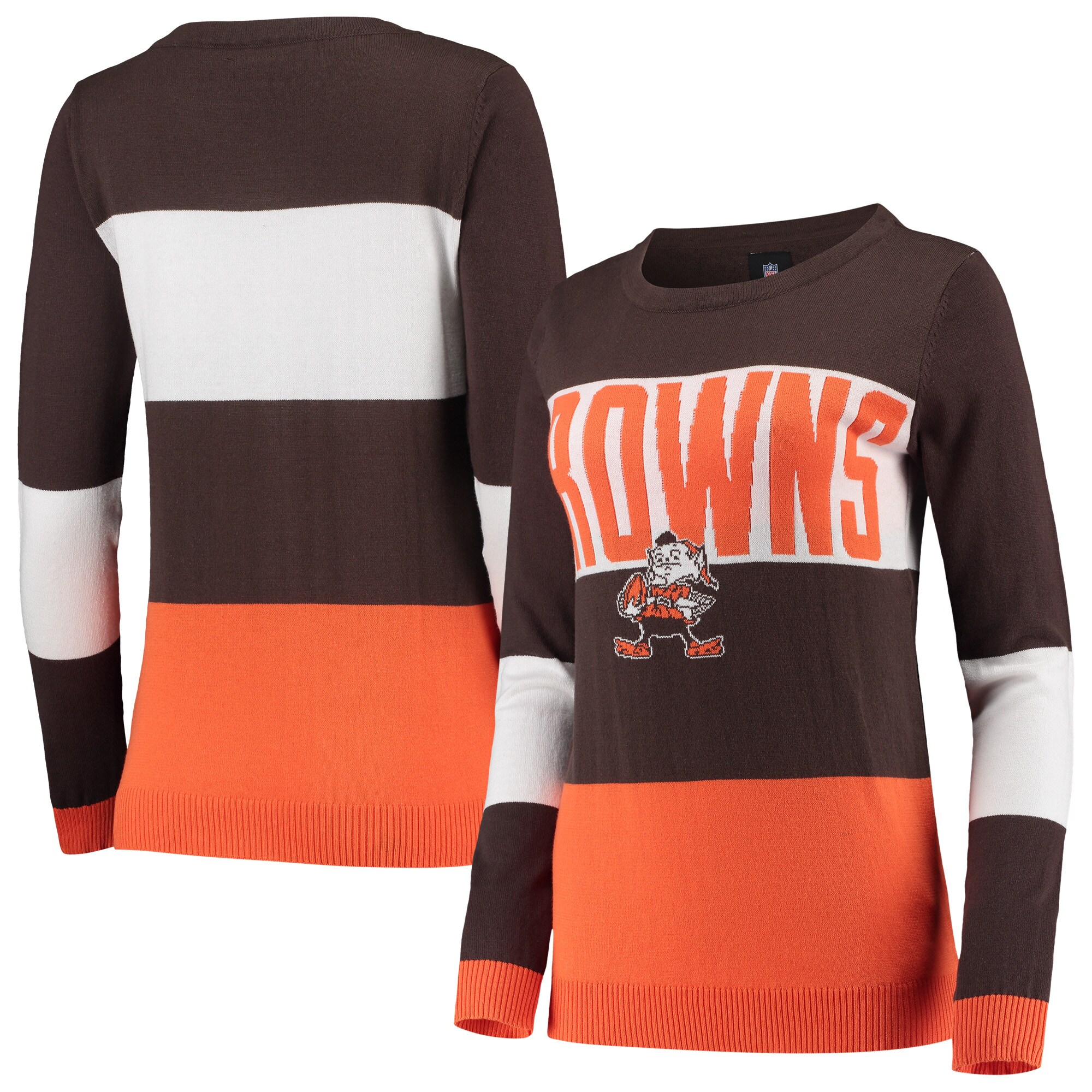 Cleveland Browns Women's Retro Colorblock Sweater - Brown