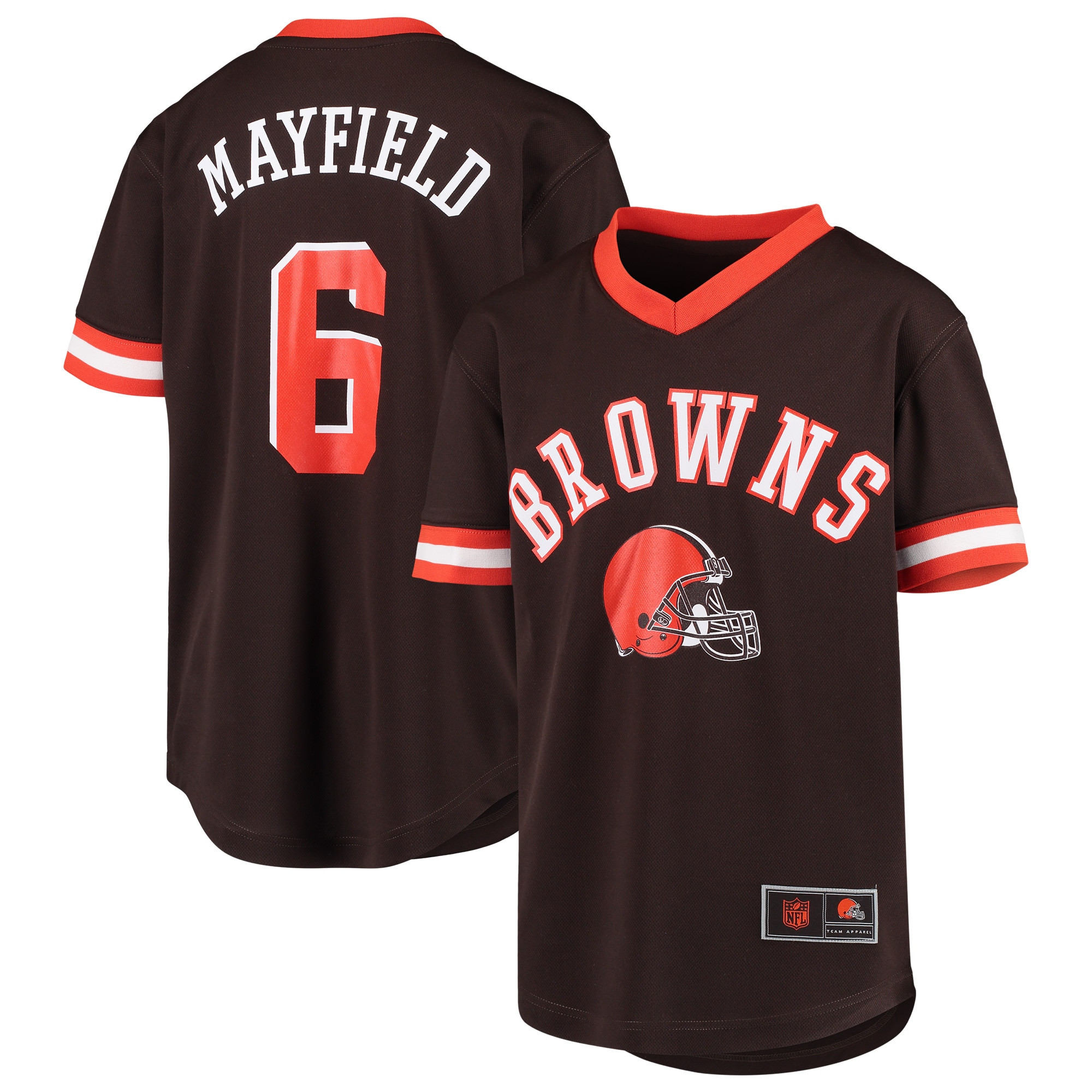 Baker Mayfield Cleveland Browns Youth Player Name & Number Fashion Mesh V-Neck Top - Brown