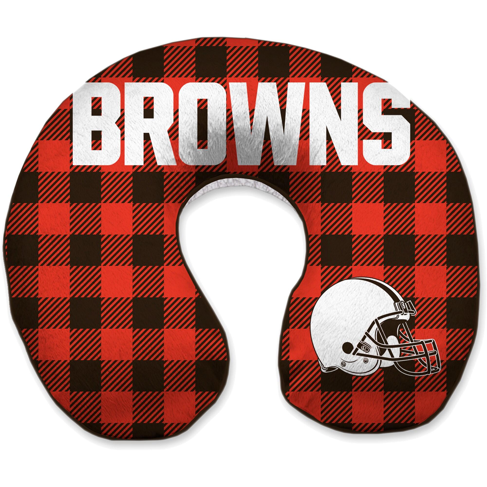 Cleveland Browns Buffalo Check Sherpa Memory Foam Travel Pillow - Brown
