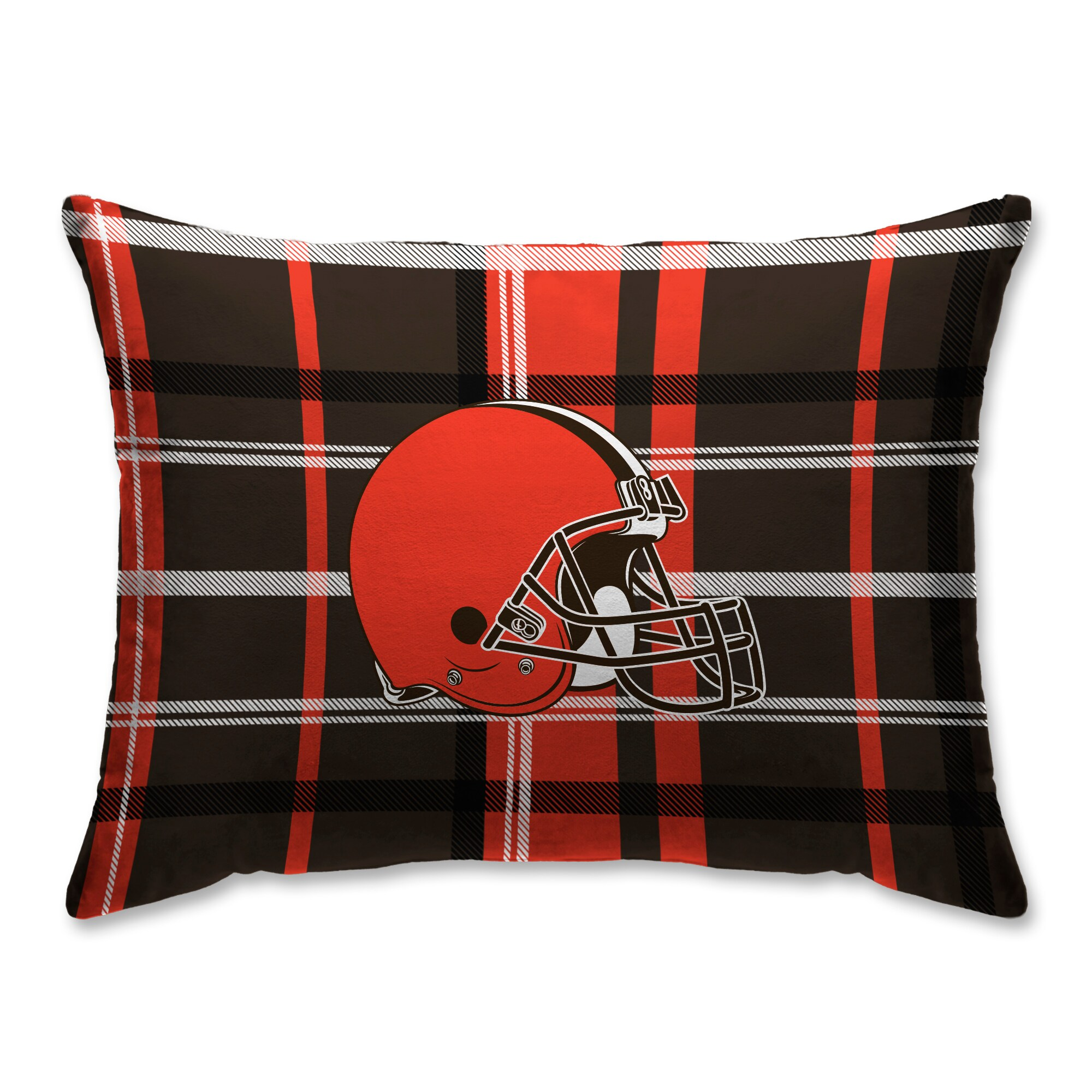 Cleveland Browns Plaid Plush Sherpa Bed Pillow - Brown