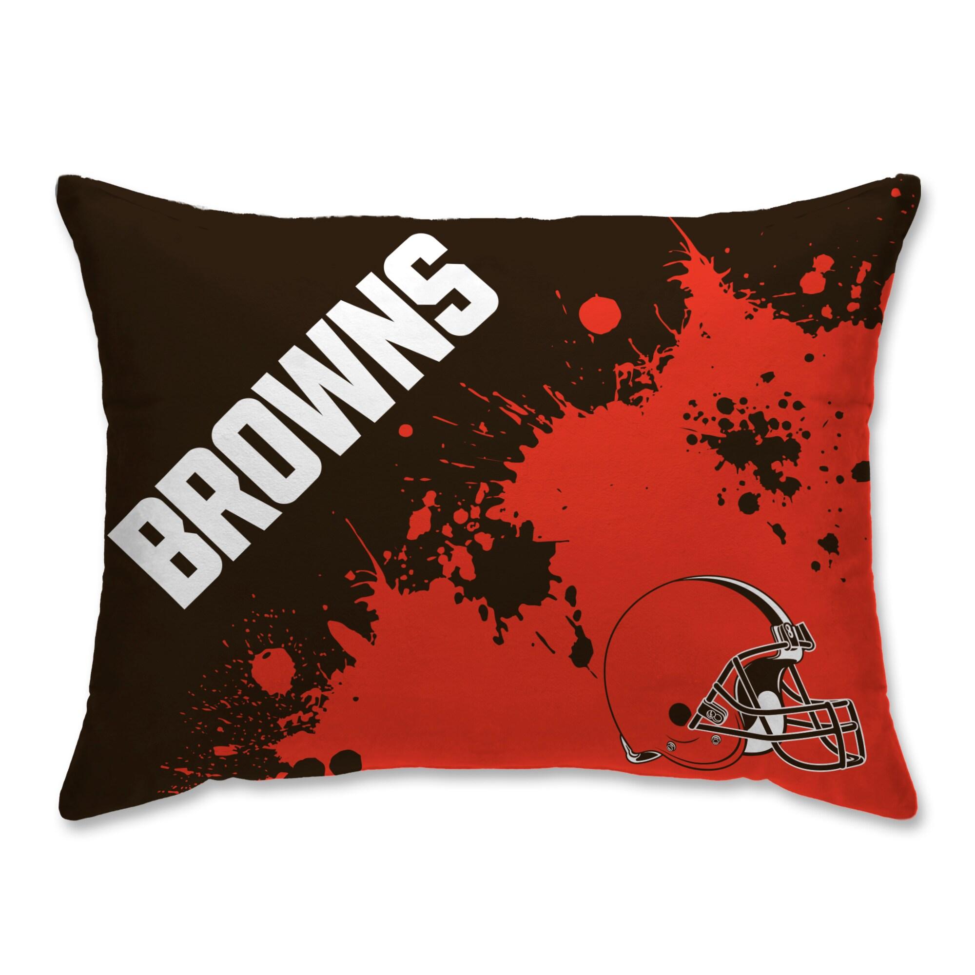Cleveland Browns Splatter Plush Bed Pillow - Brown