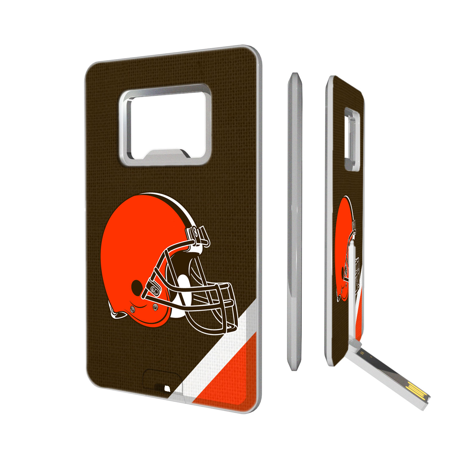 Cleveland Browns Diagonal Stripe Credit Card USB Drive & Bottle Opener