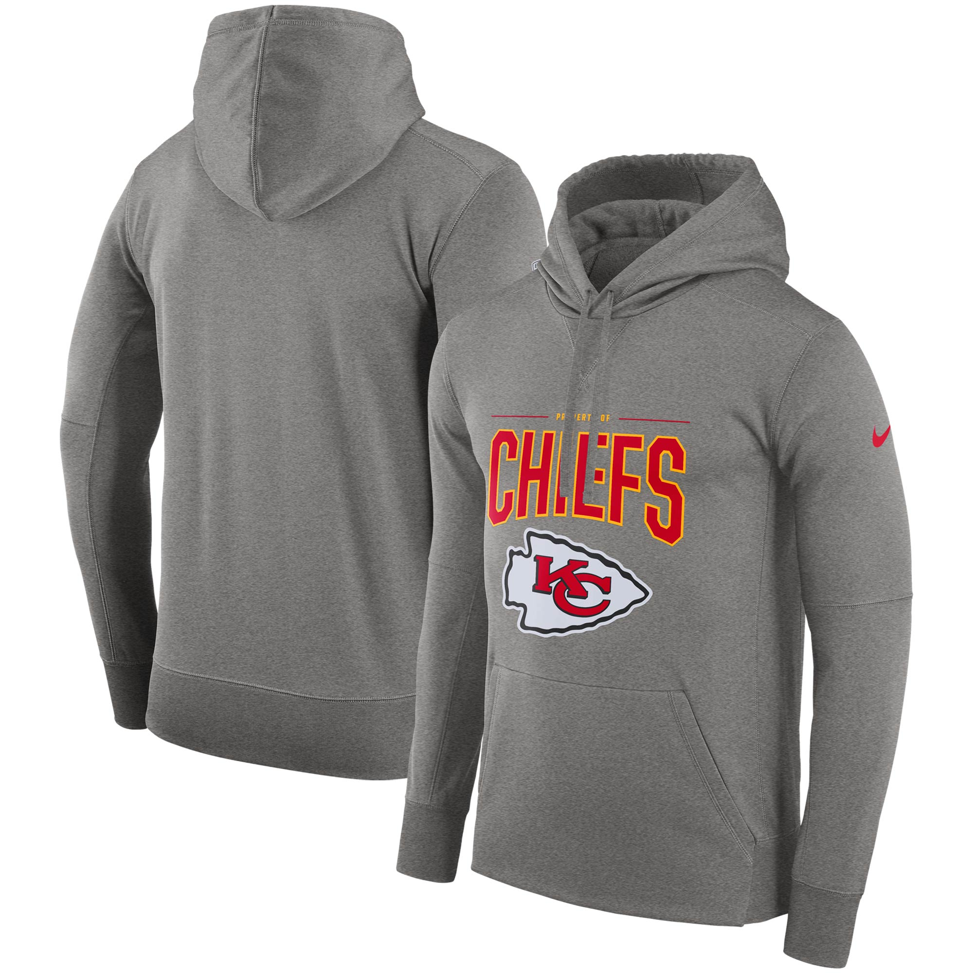 Kansas City Chiefs Nike Sideline Property of Performance Pullover Hoodie - Gray