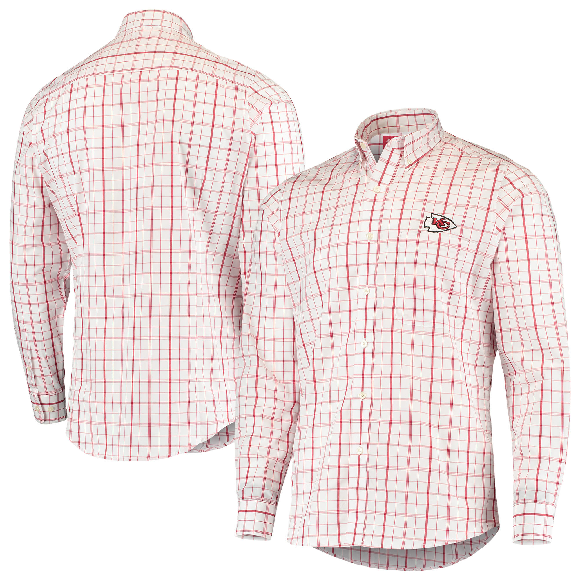 Kansas City Chiefs Antigua Keen Long Sleeve Button-Down Shirt - White/Red