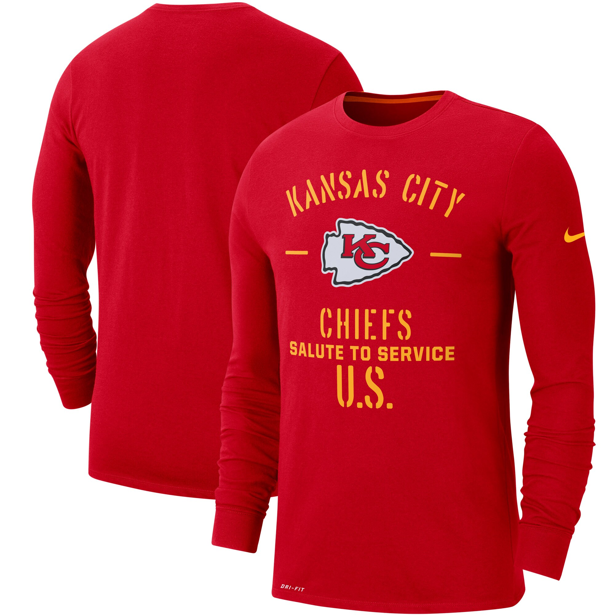 Kansas City Chiefs Nike 2019 Salute to Service Sideline Performance Long Sleeve Shirt - Red