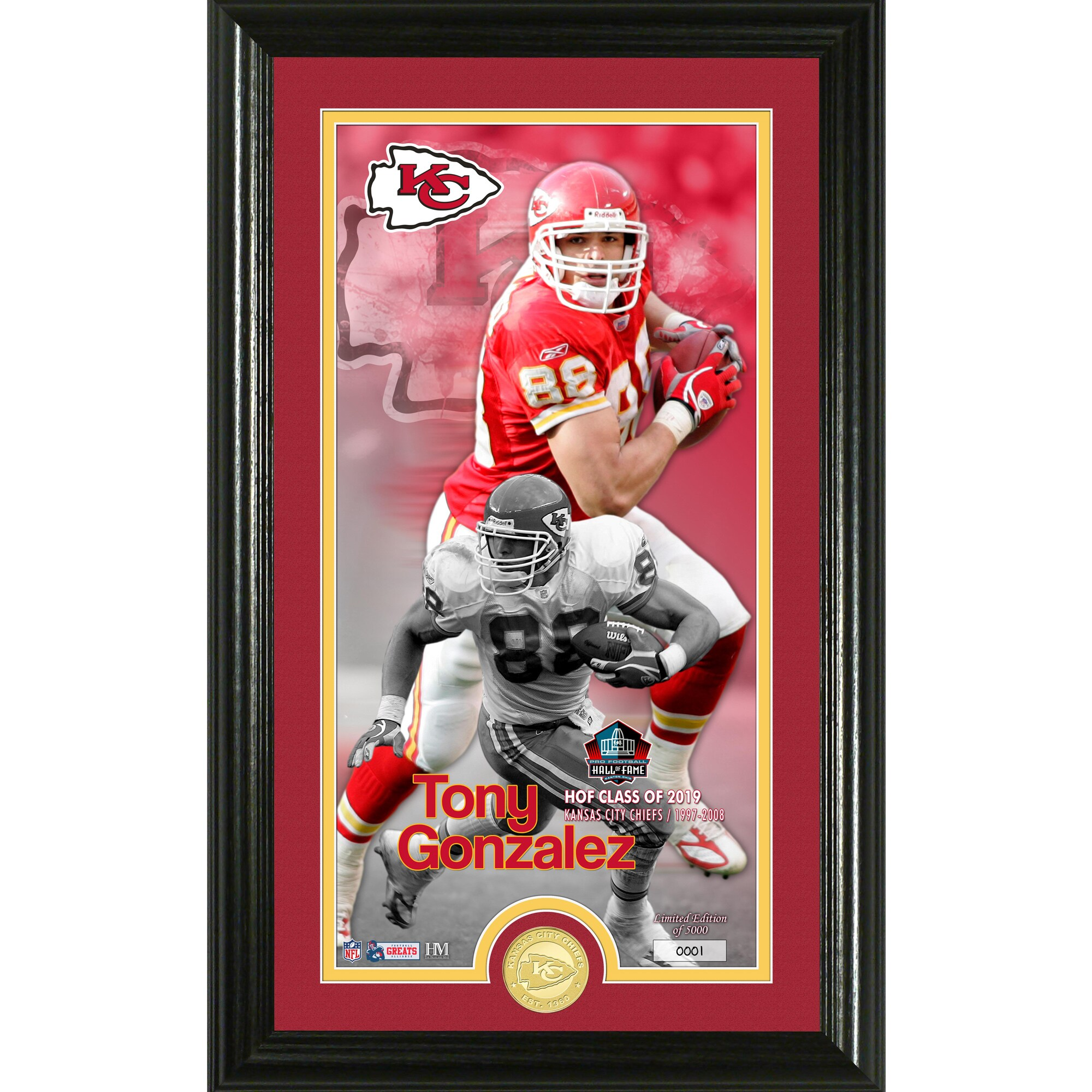 Tony Gonzalez Kansas City Chiefs Highland Mint 2019 Pro Football Hall of Fame 12'' x 20'' Supreme Bronze Coin Photo Mint