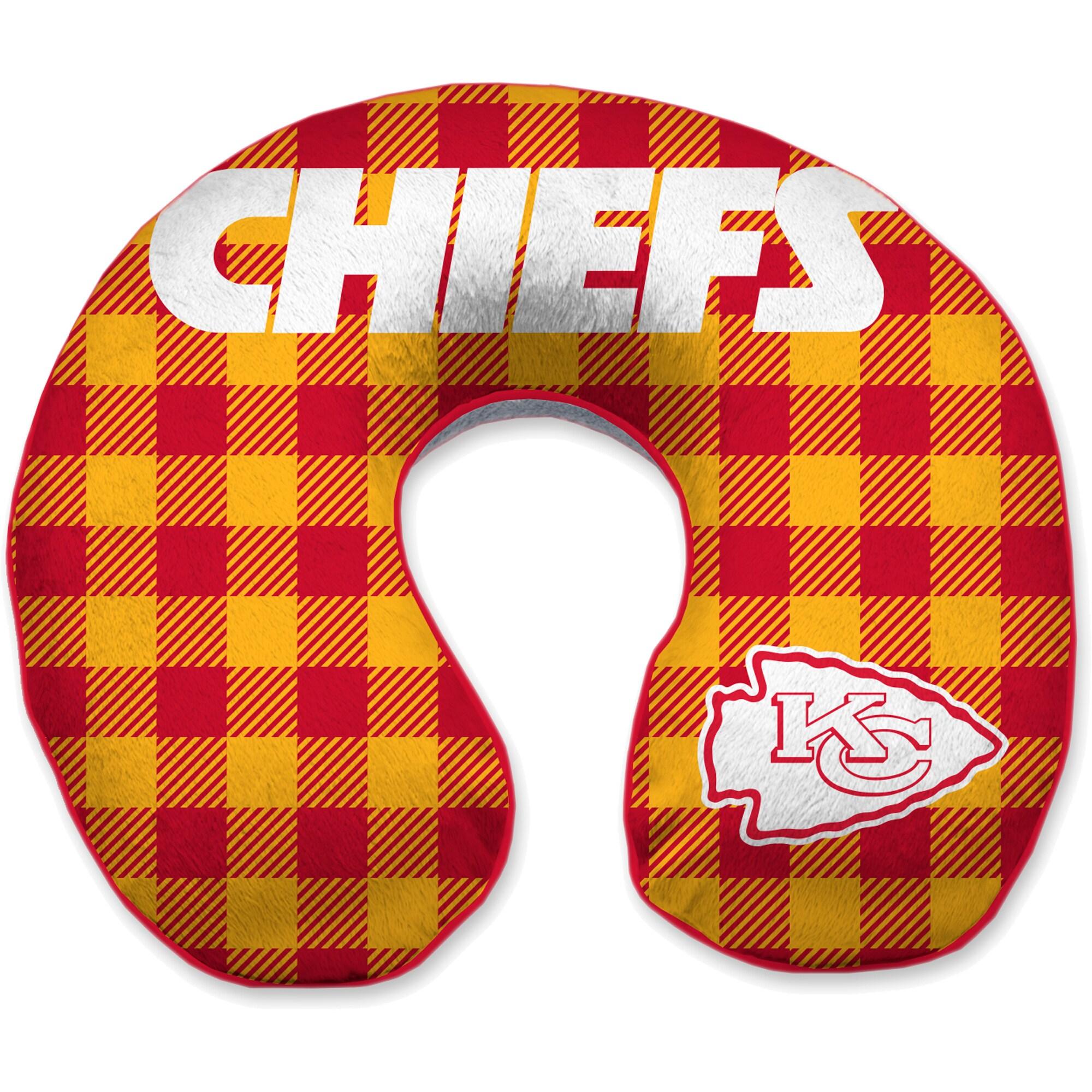 Kansas City Chiefs Buffalo Check Sherpa Memory Foam Travel Pillow - Red