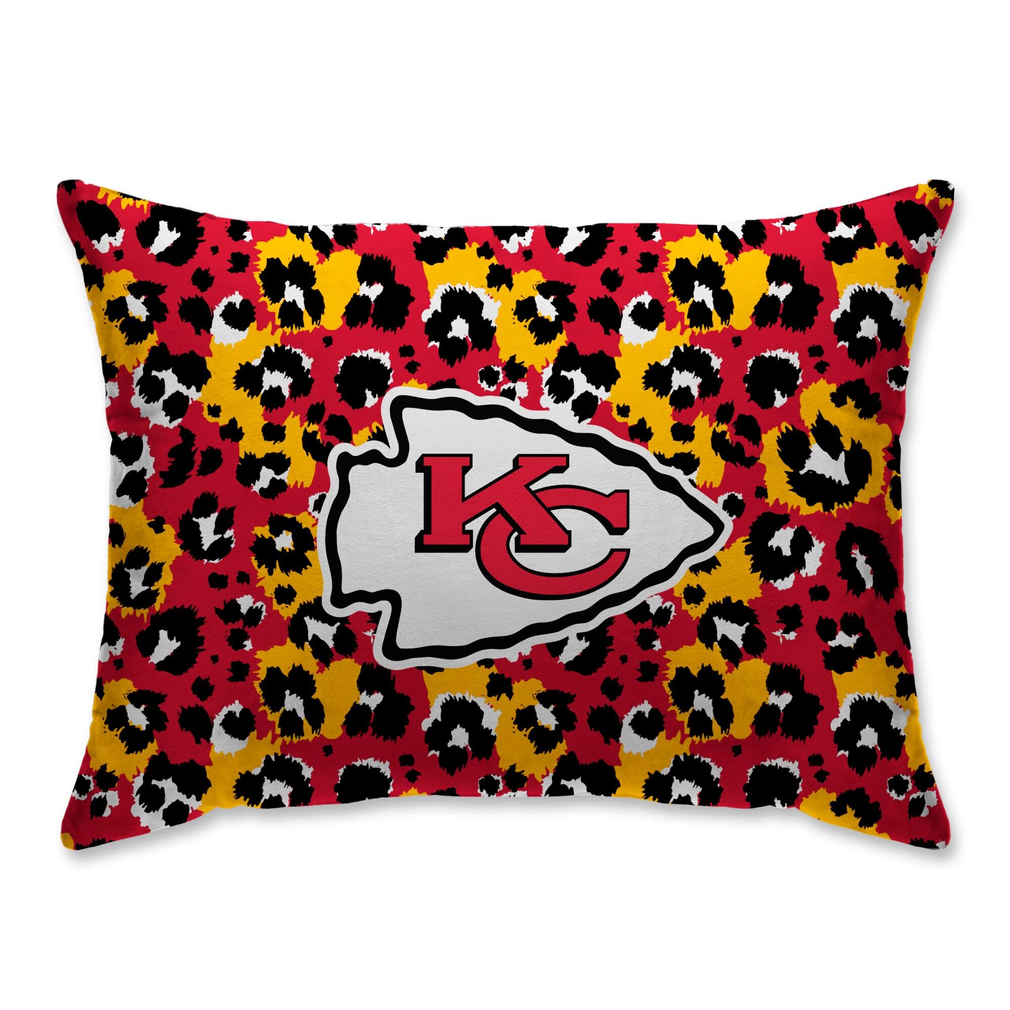 Kansas City Chiefs Leopard Plush Bed Pillow - Red