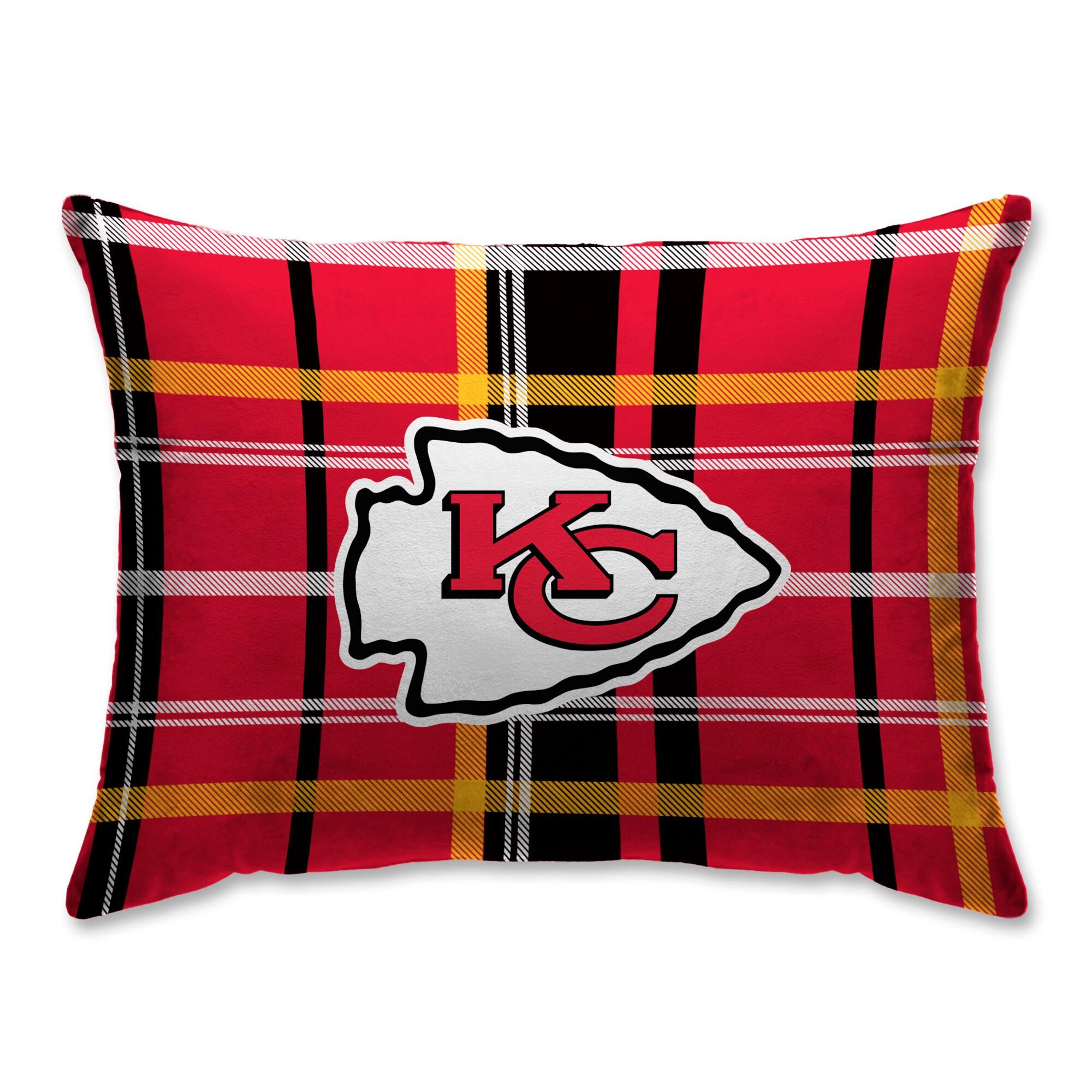Kansas City Chiefs Plaid Plush Sherpa Bed Pillow - Red