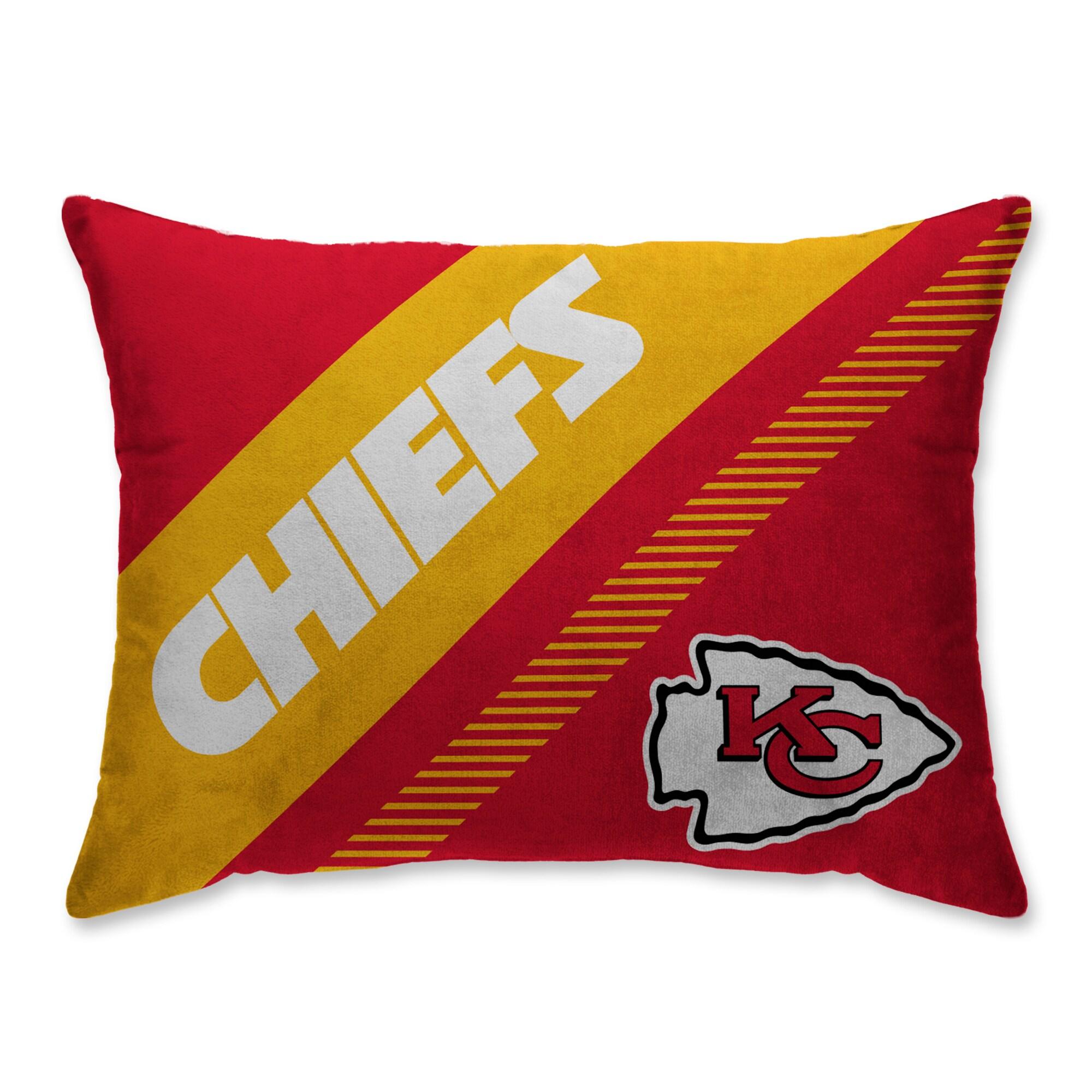 Kansas City Chiefs Super Plush Mink Diagonal Bed Pillow - Red