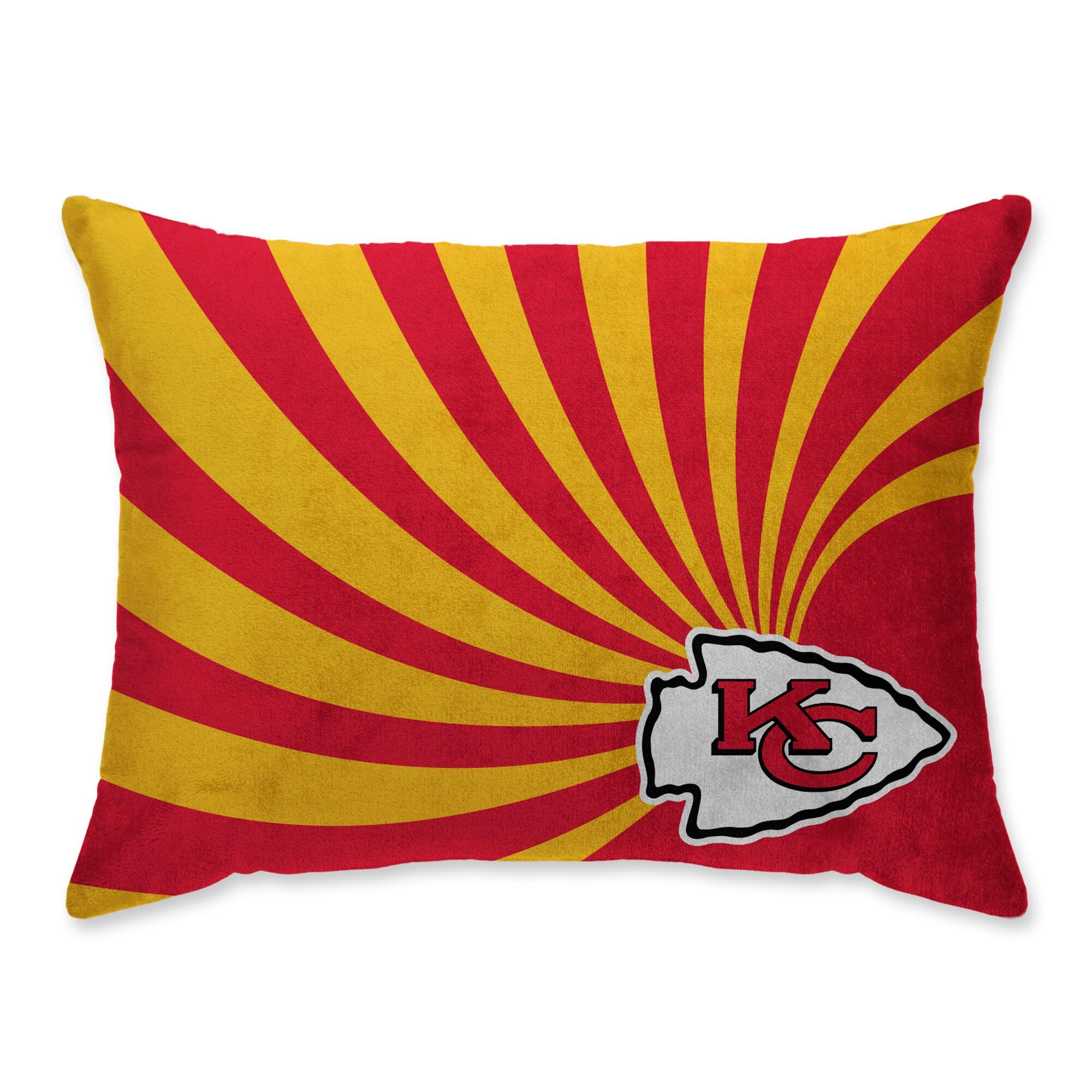 Kansas City Chiefs Super Plush Mink Wave Bed Pillow - Red