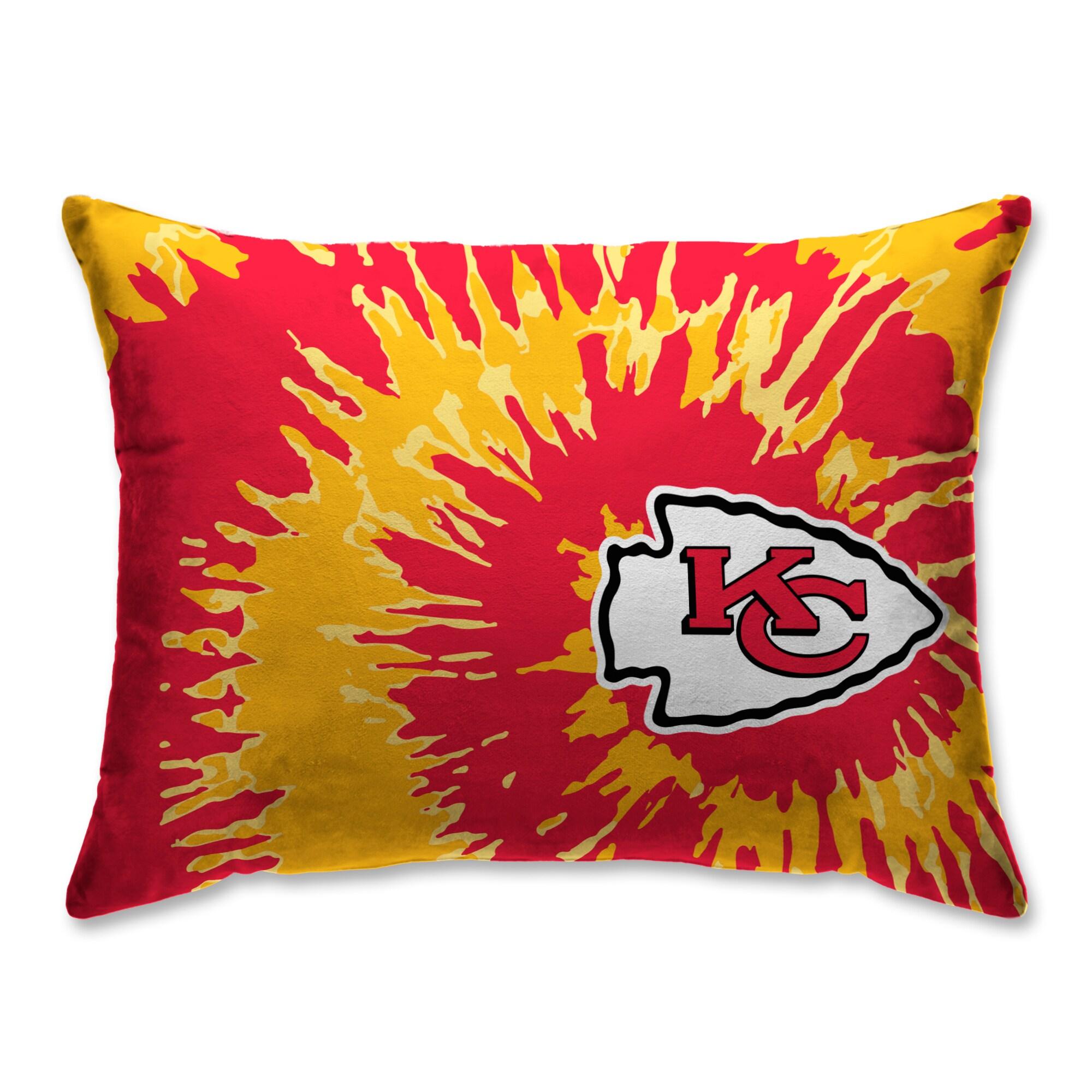 Kansas City Chiefs Tie Dye Plush Bed Pillow - Red