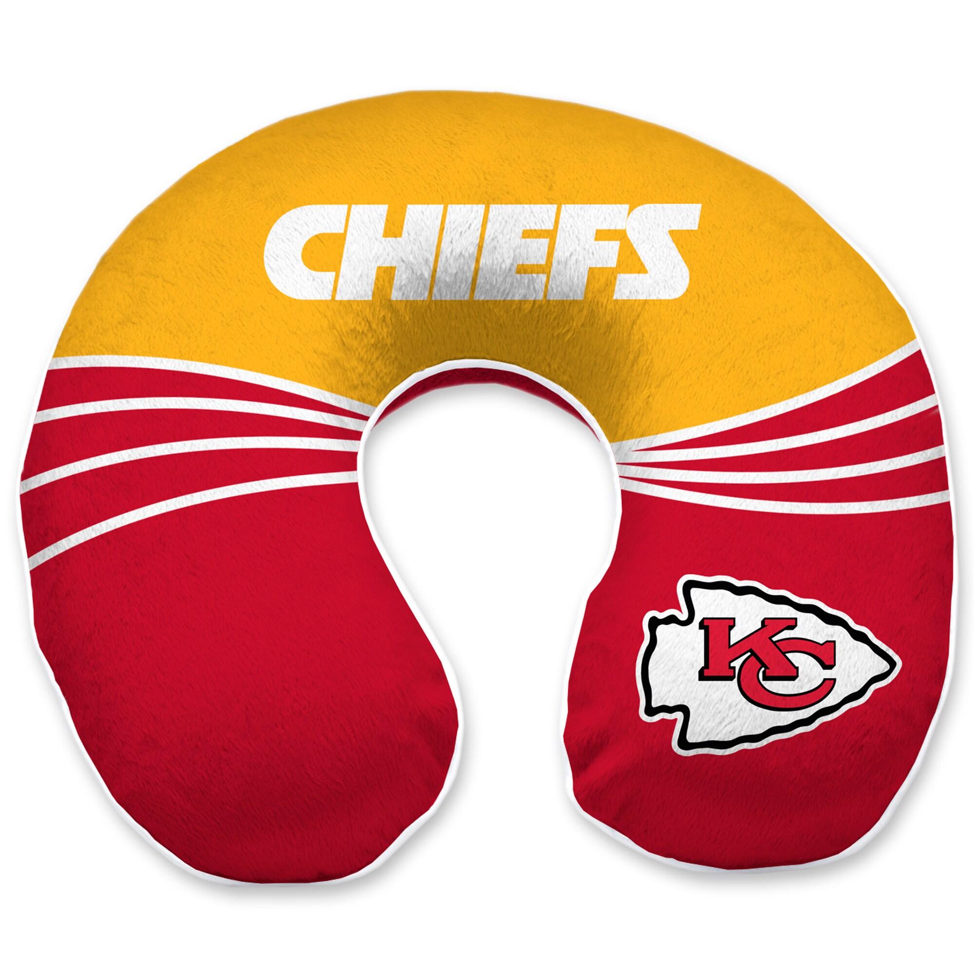 Kansas City Chiefs Wave Memory Foam U-Neck Travel Pillow - Red
