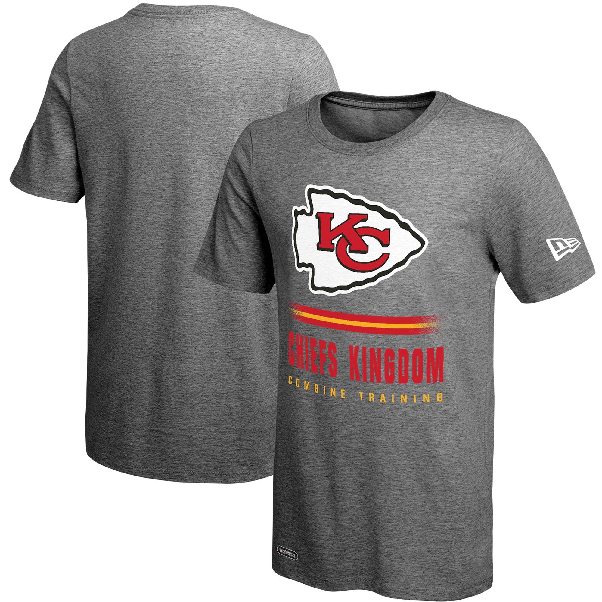 Kansas City Chiefs New Era Combine Team Slogan Lockup T-Shirt - Heathered Gray