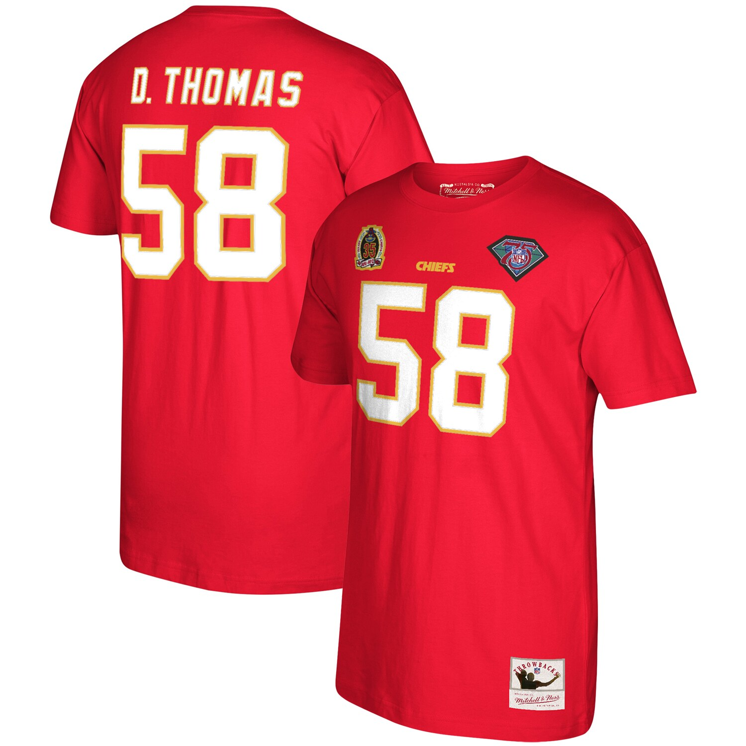 Derrick Thomas Kansas City Chiefs Mitchell & Ness 1994 Retired Player Name & Number T-Shirt - Red