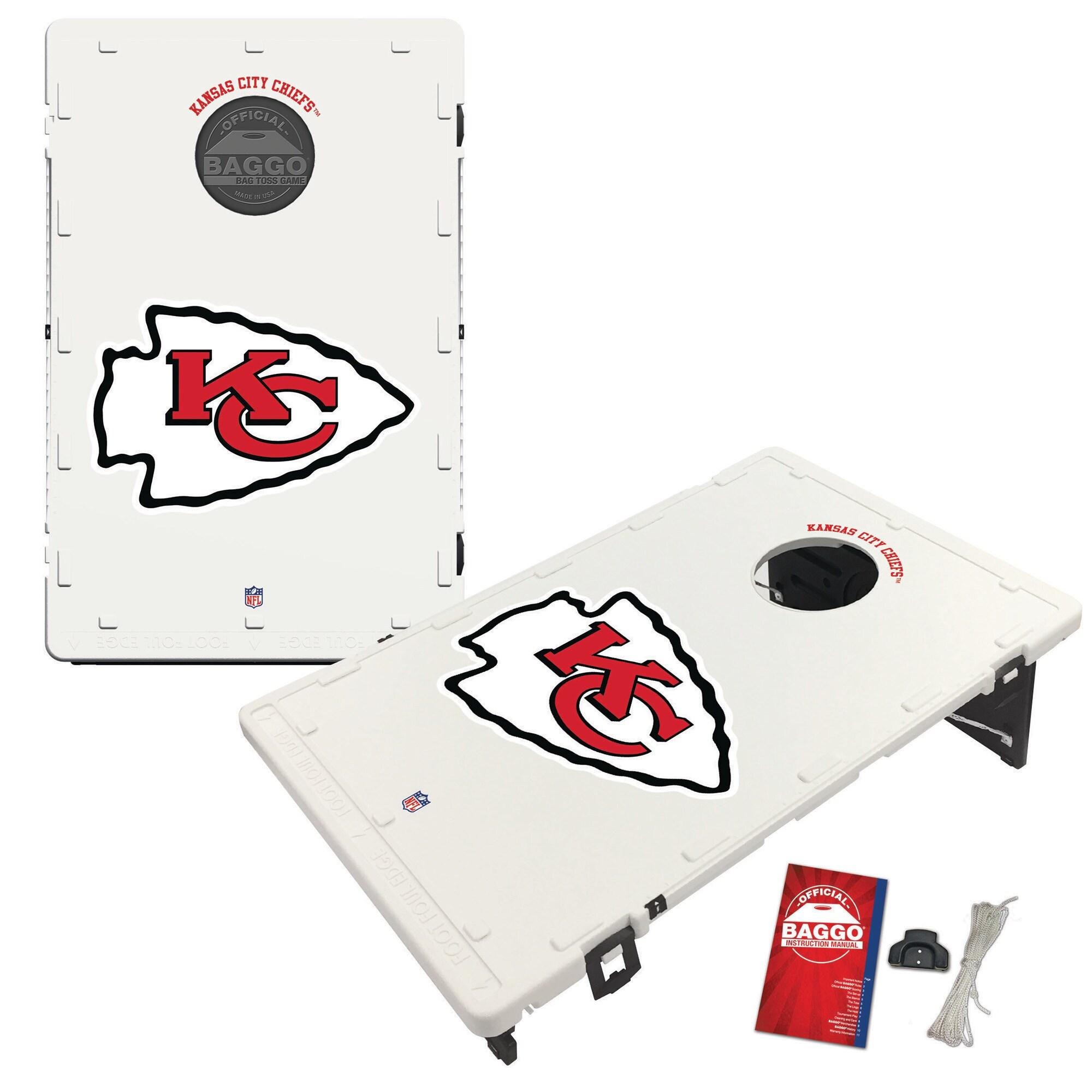 Kansas City Chiefs 2' x 3' Classic Design BAGGO Cornhole Board Tailgate Toss Set