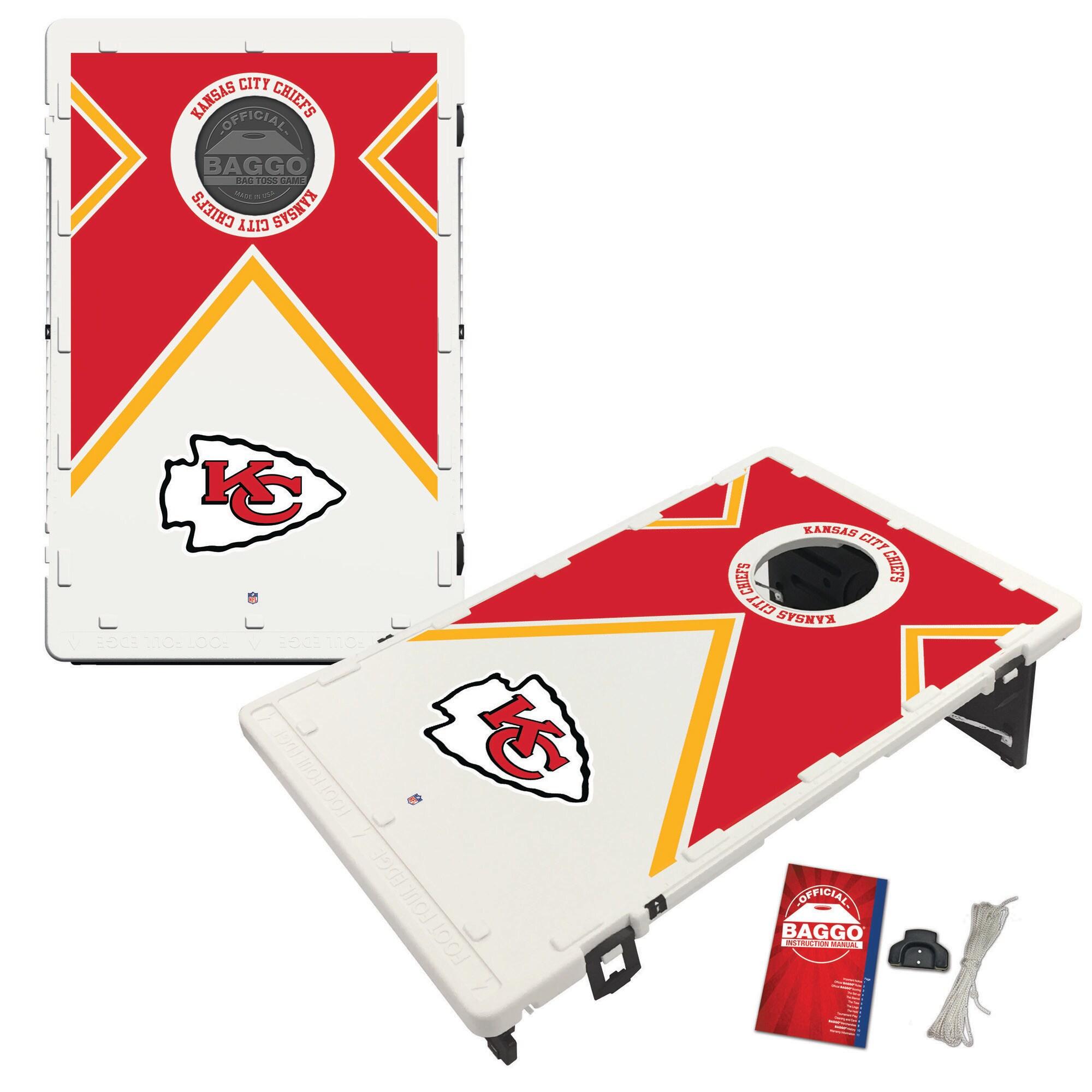Kansas City Chiefs 2' x 3' BAGGO Vintage Cornhole Board Tailgate Toss Set