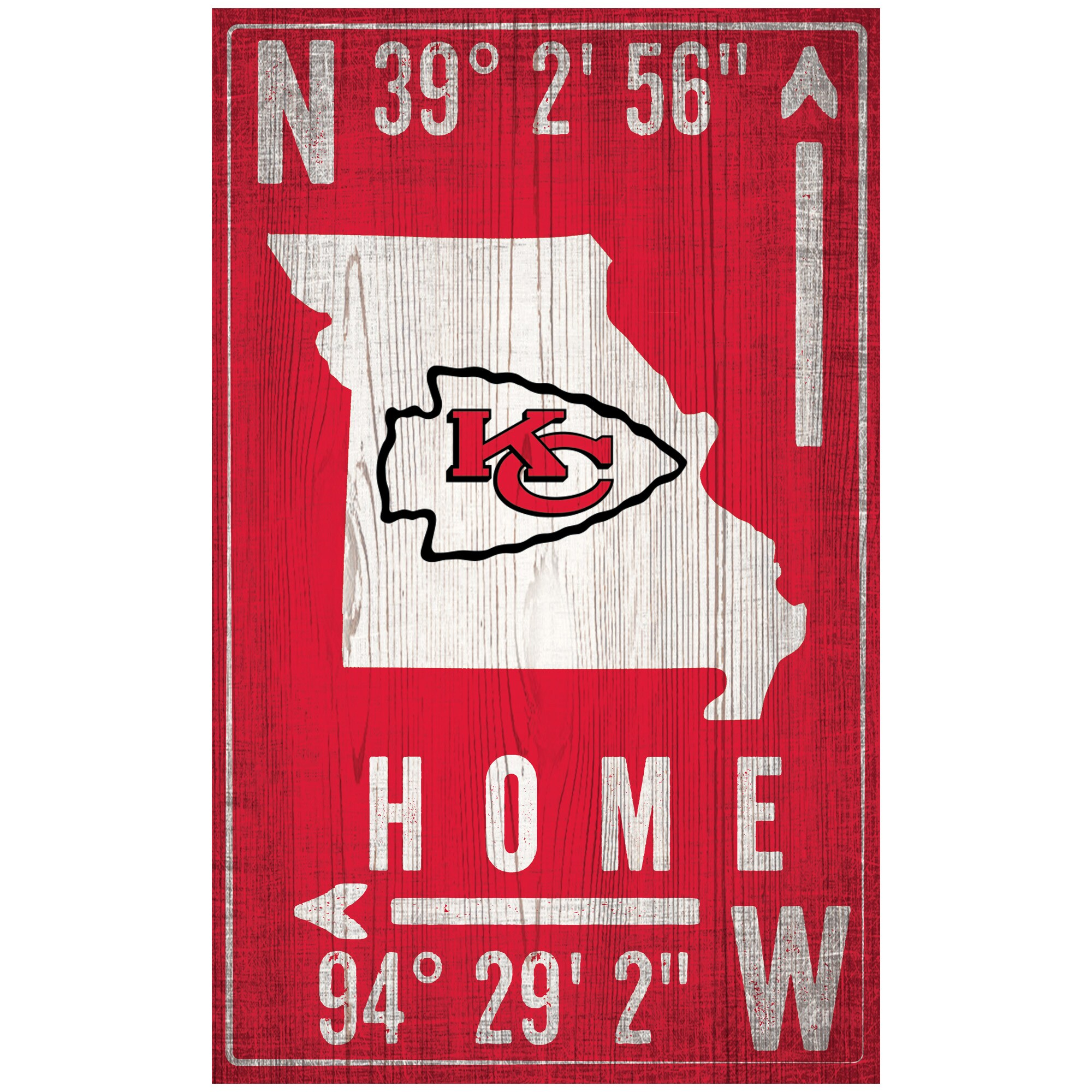 "Kansas City Chiefs 11"" x 19"" Coordinate Sign"