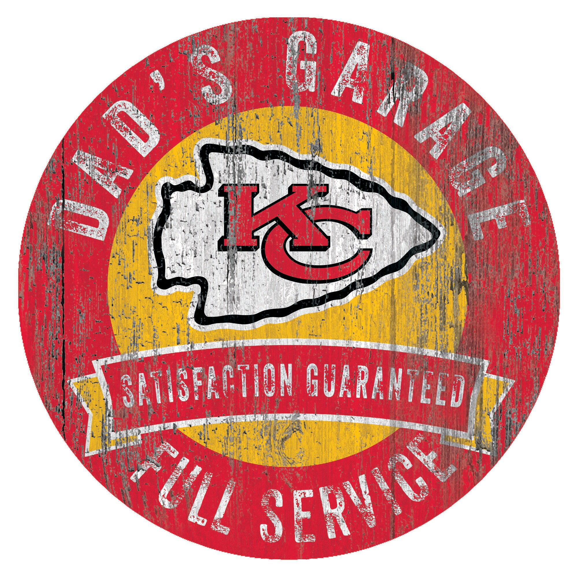 "Kansas City Chiefs 12"" x 12"" Dad's Garage Sign"