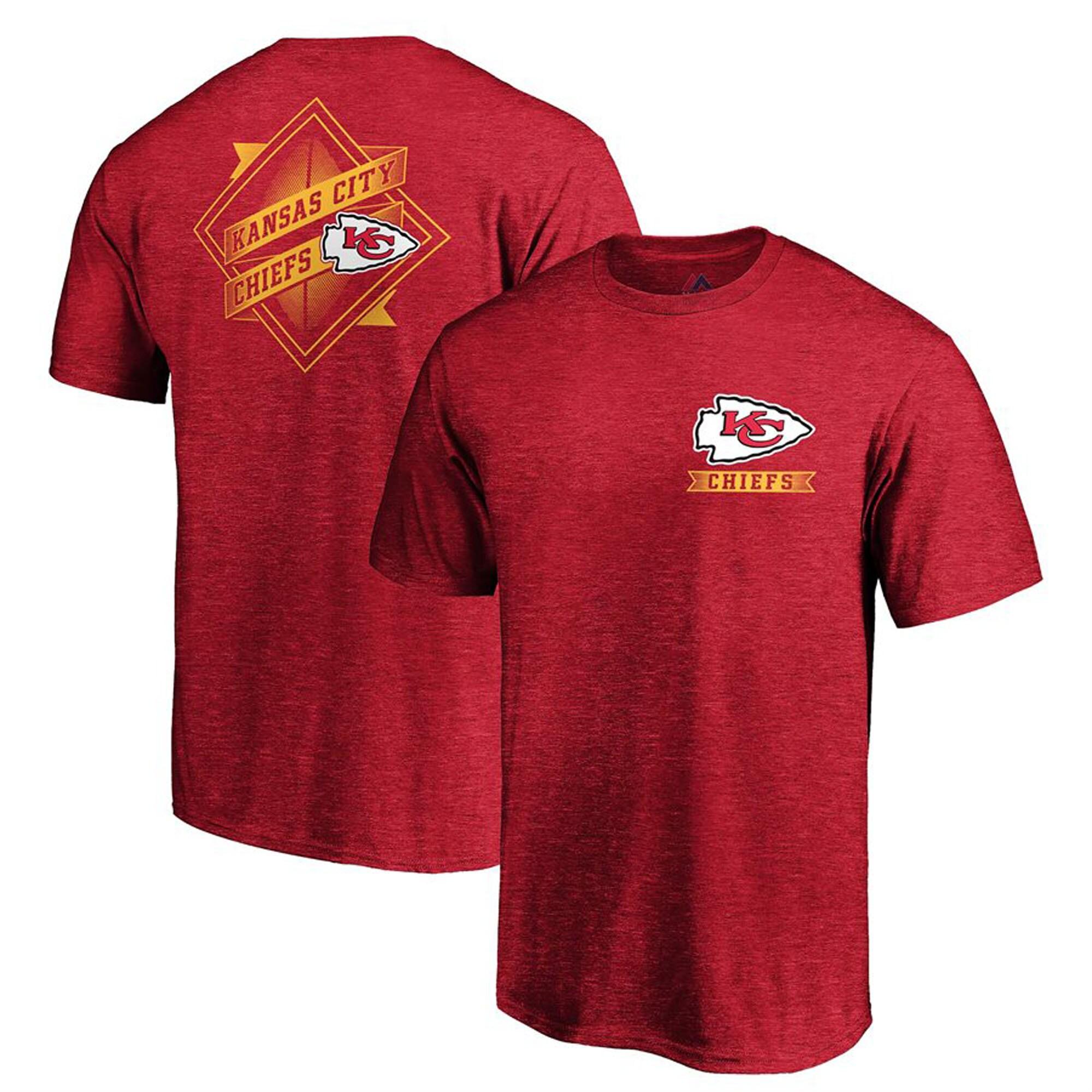 Kansas City Chiefs Majestic Iconic Diamond Scroll T-Shirt - Heathered Red