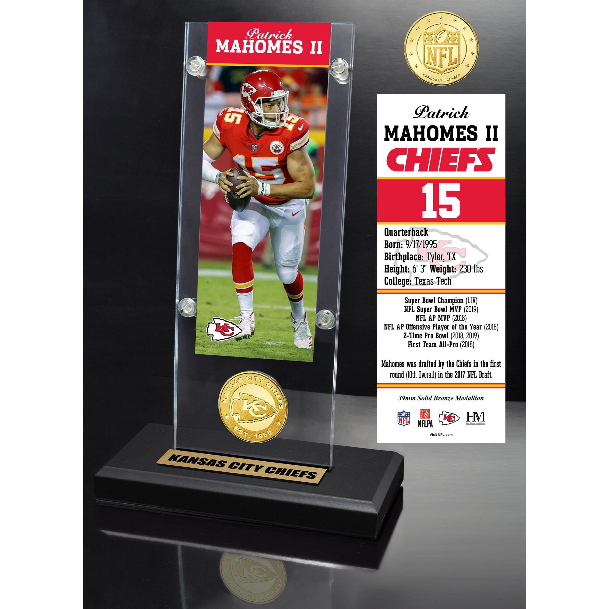 "Kansas City Chiefs Highland Mint Patrick Mahomes 3.5"" x 9"" Player Ticket Acrylic"