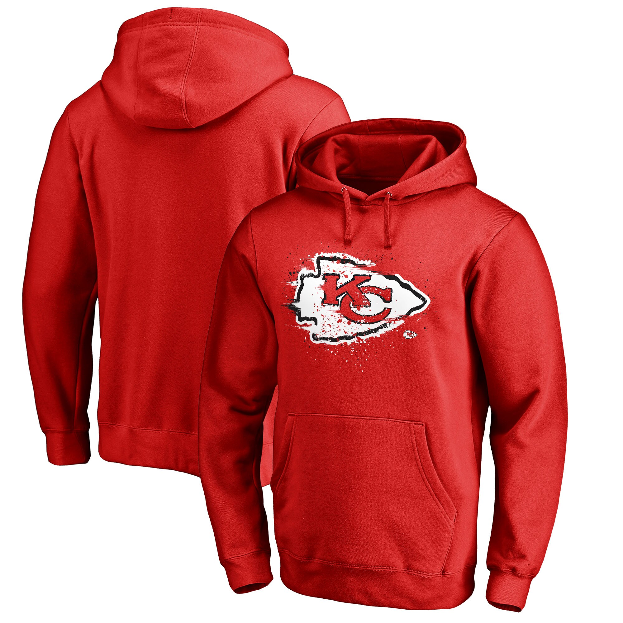 Kansas City Chiefs NFL Pro Line by Fanatics Branded Splatter Logo Pullover Hoodie - Red