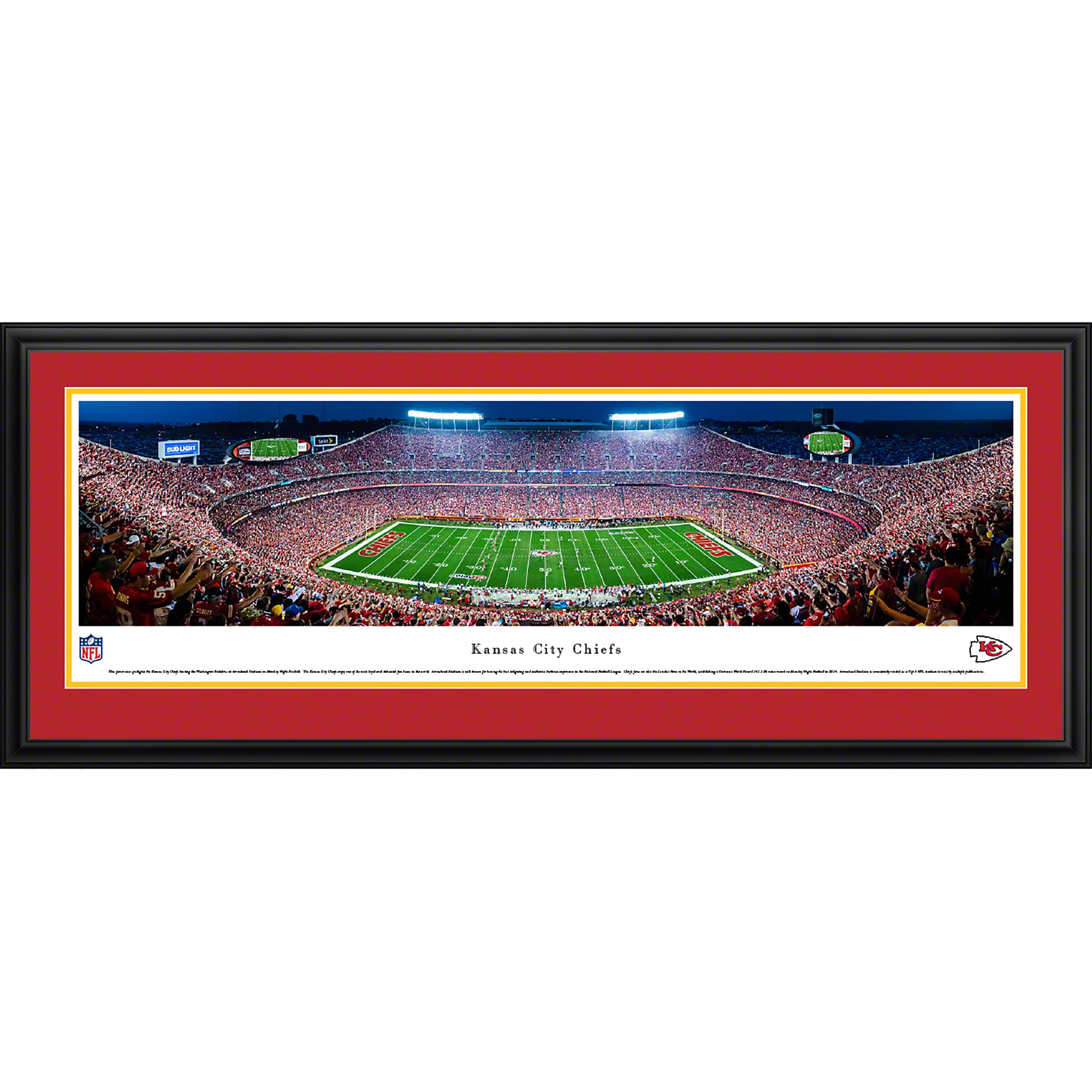 "Kansas City Chiefs 44"" x 18"" 50-Yard Line Deluxe Framed Panoramic"