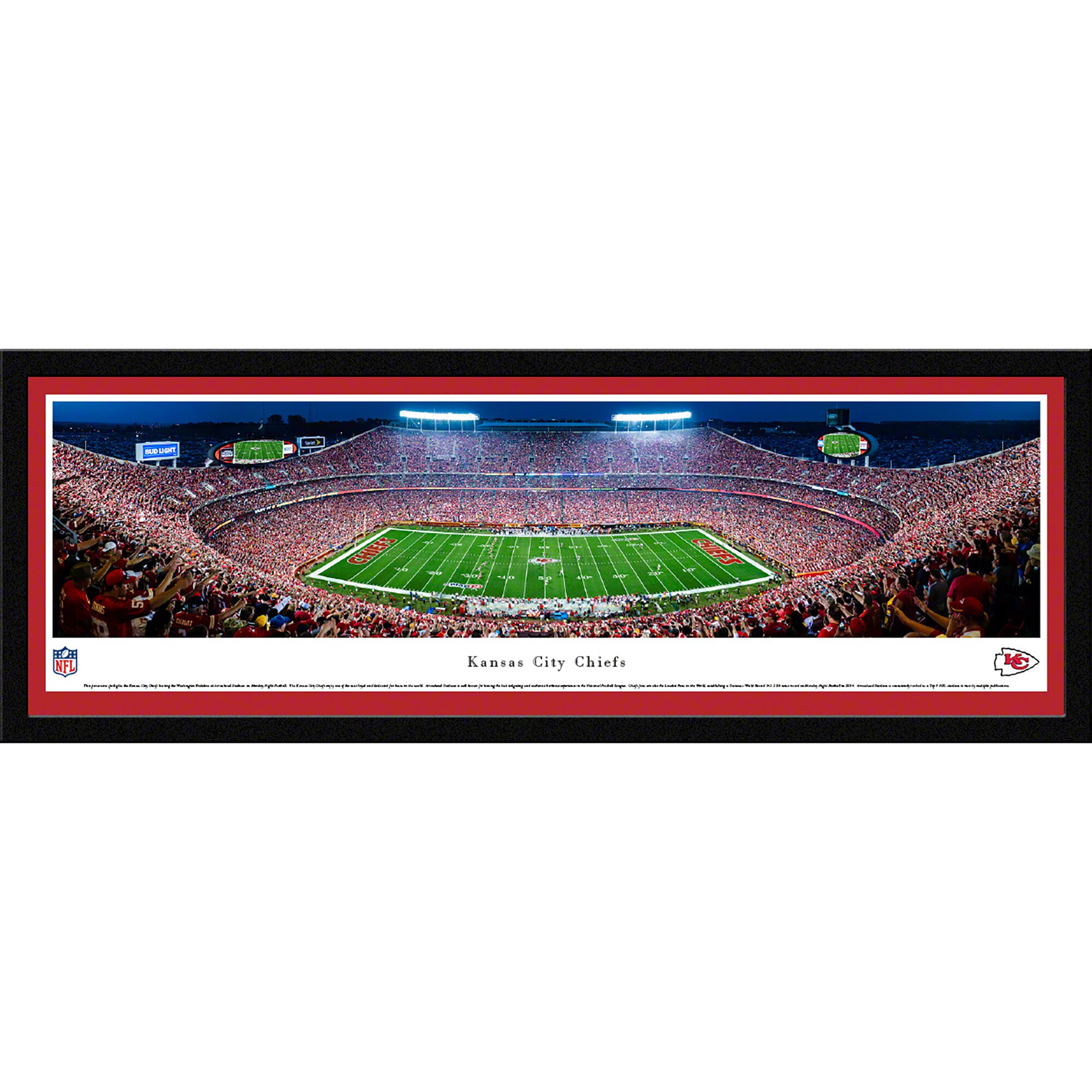 "Kansas City Chiefs 42"" x 15.5"" 50-Yard Line Select Framed Panoramic"