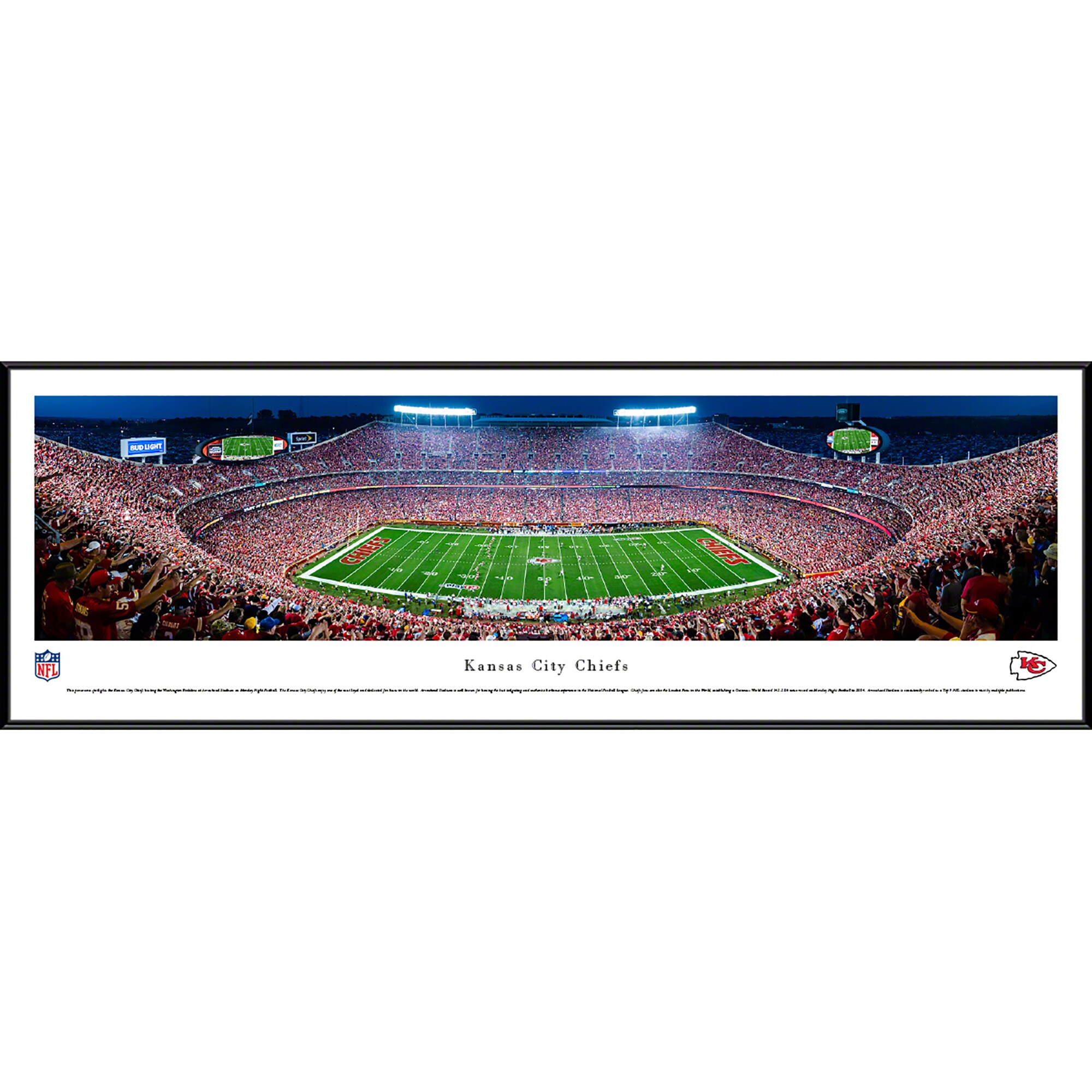 "Kansas City Chiefs 40.25"" x 13.75"" 50-Yard Line Standard Framed Panoramic"