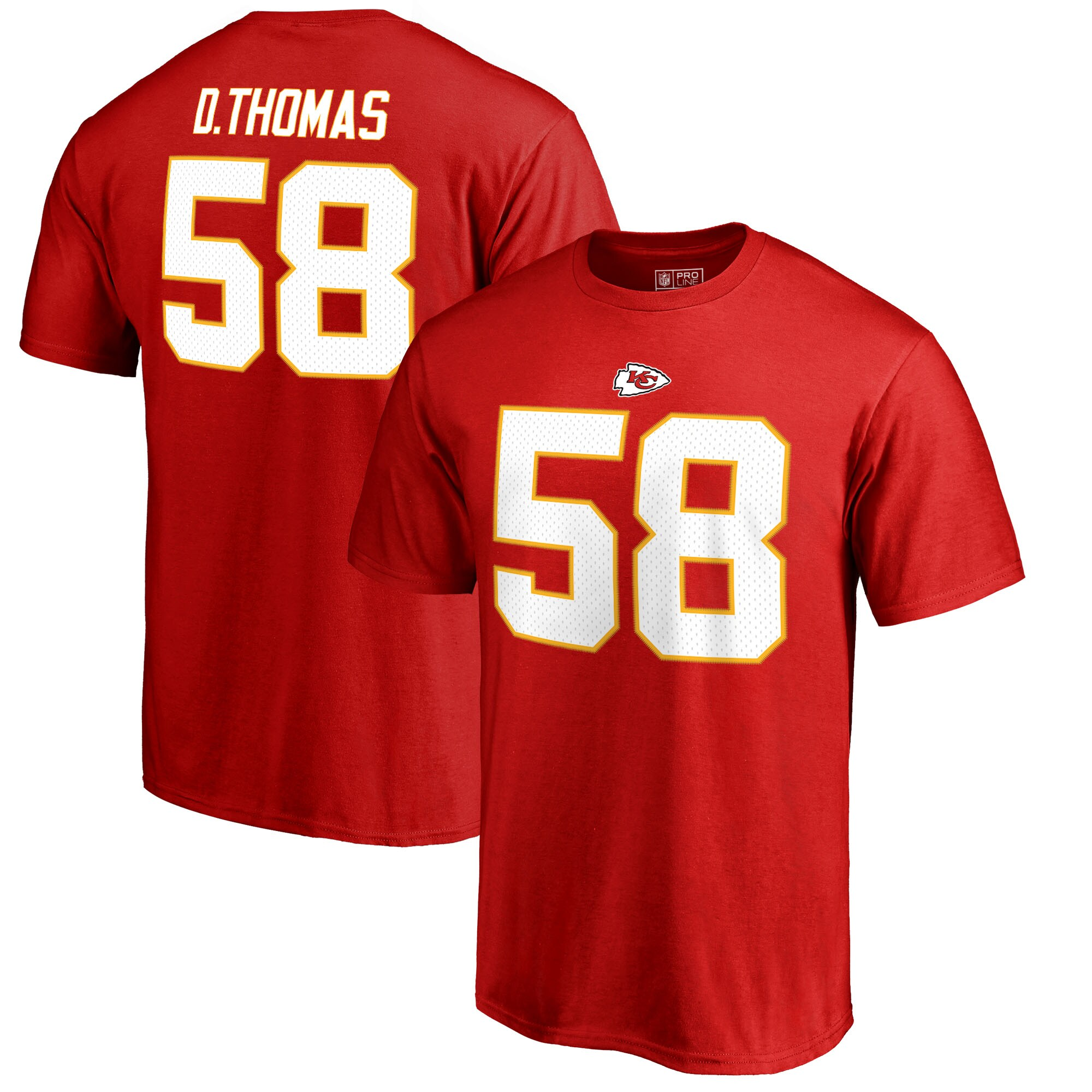 Derrick Thomas Kansas City Chiefs NFL Pro Line by Fanatics Branded Retired Player Authentic Stack Name & Number T-Shirt - Red