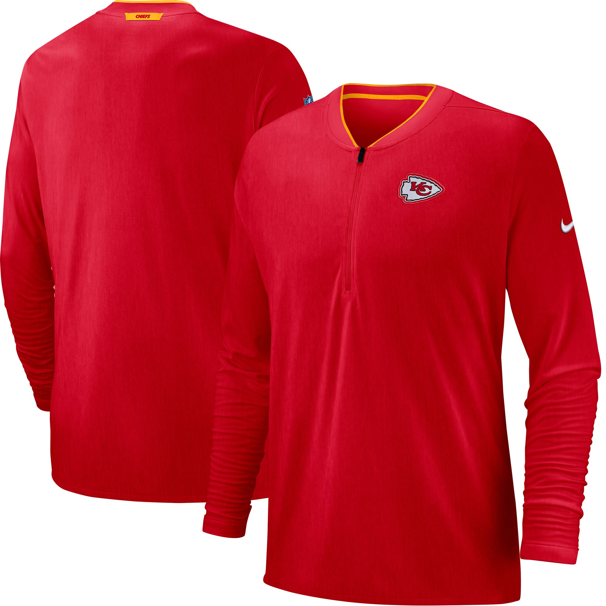 Kansas City Chiefs Nike Sideline Coaches Half-Zip Pullover Jacket - Red