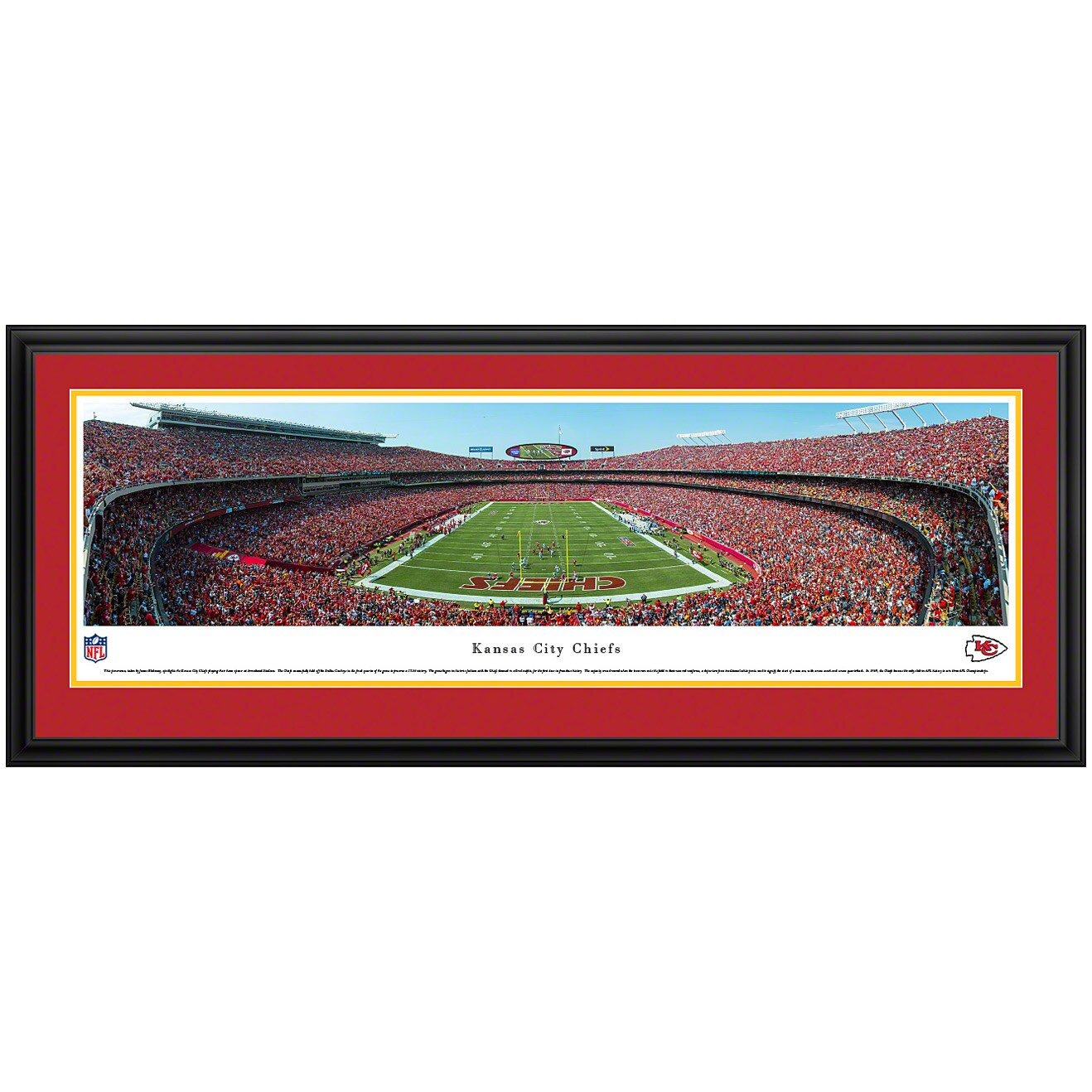 "Kansas City Chiefs 44"" x 18"" End Zone Deluxe Frame Panoramic Photo"