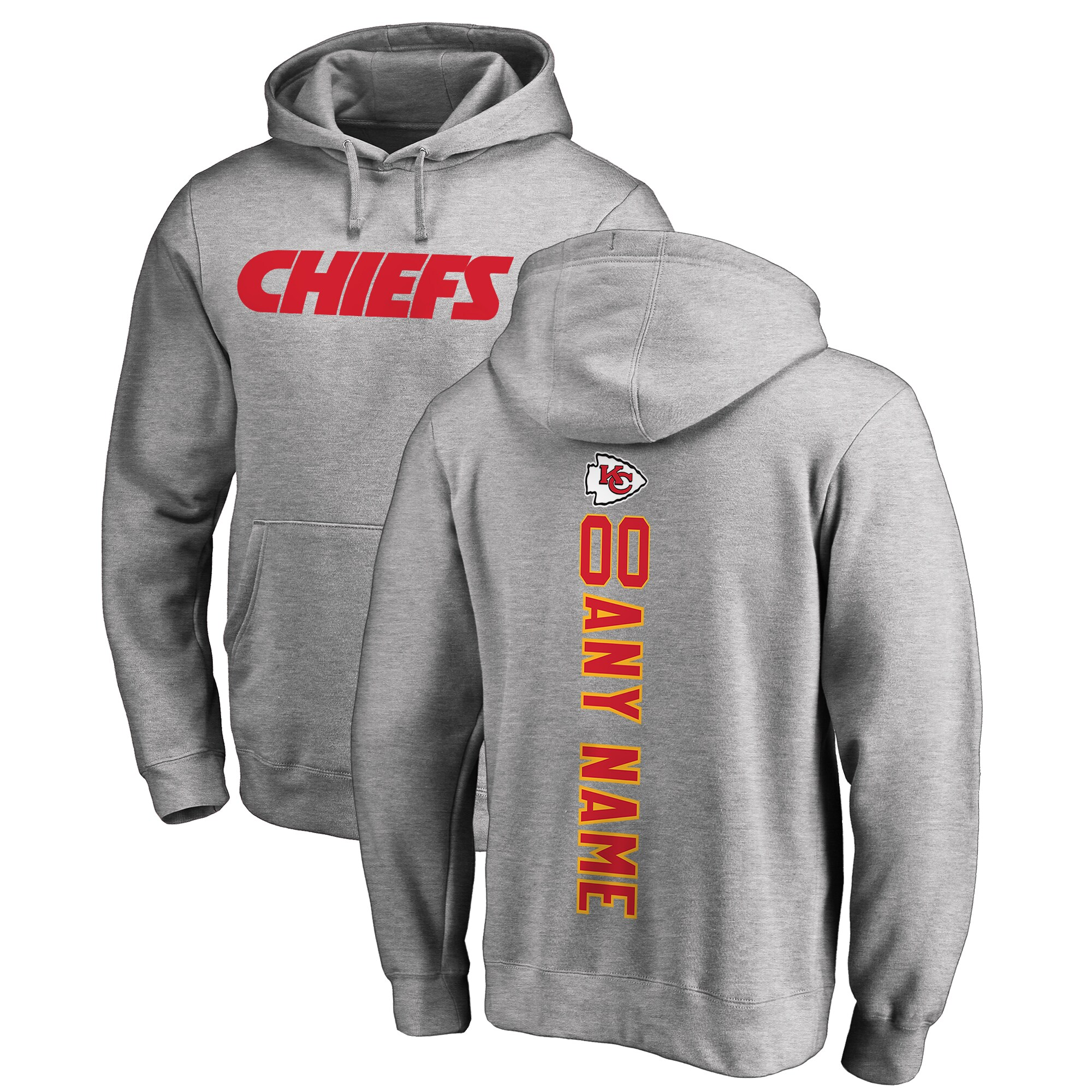 Kansas City Chiefs NFL Pro Line by Fanatics Branded Personalized Playmaker Pullover Hoodie - Heather Gray