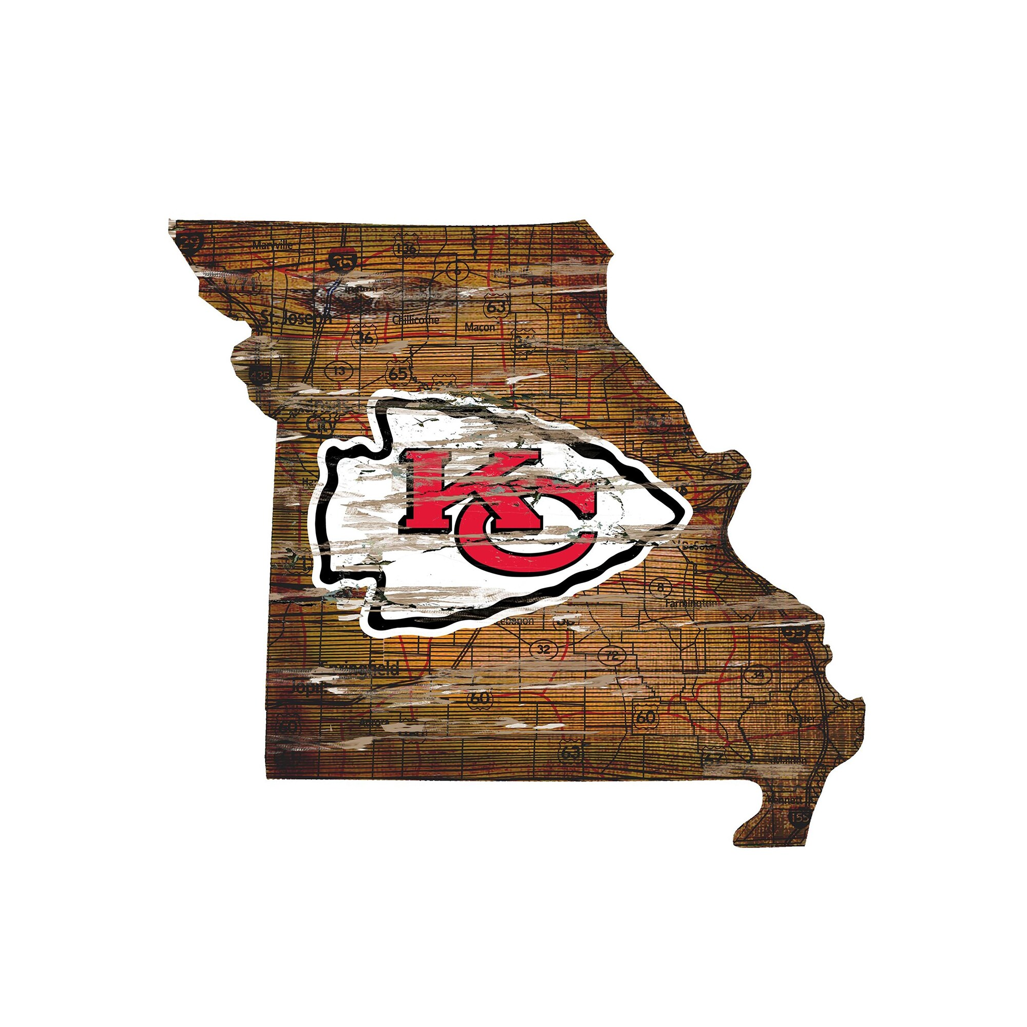 "Kansas City Chiefs 23.5"" x 23.5"" Distressed State with Logo Sign"