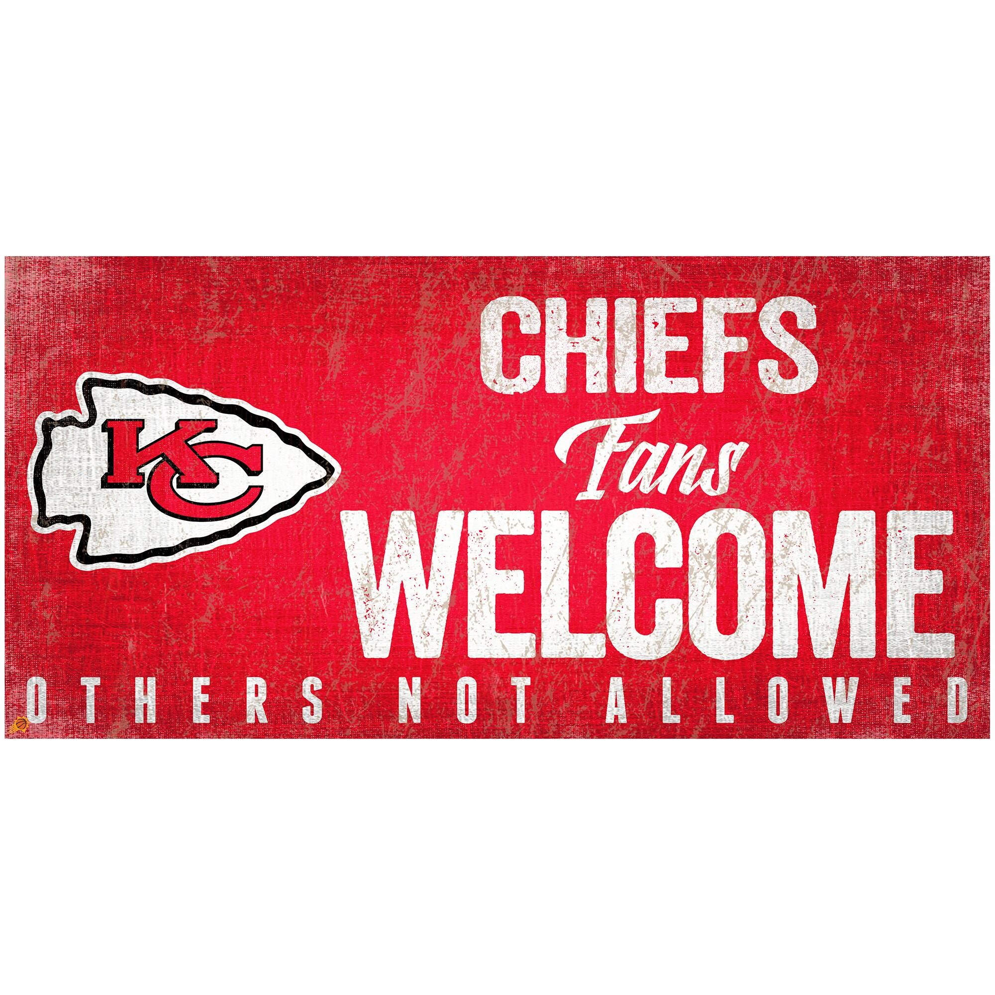"Kansas City Chiefs 6"" x 12"" Fans Welcome Sign"