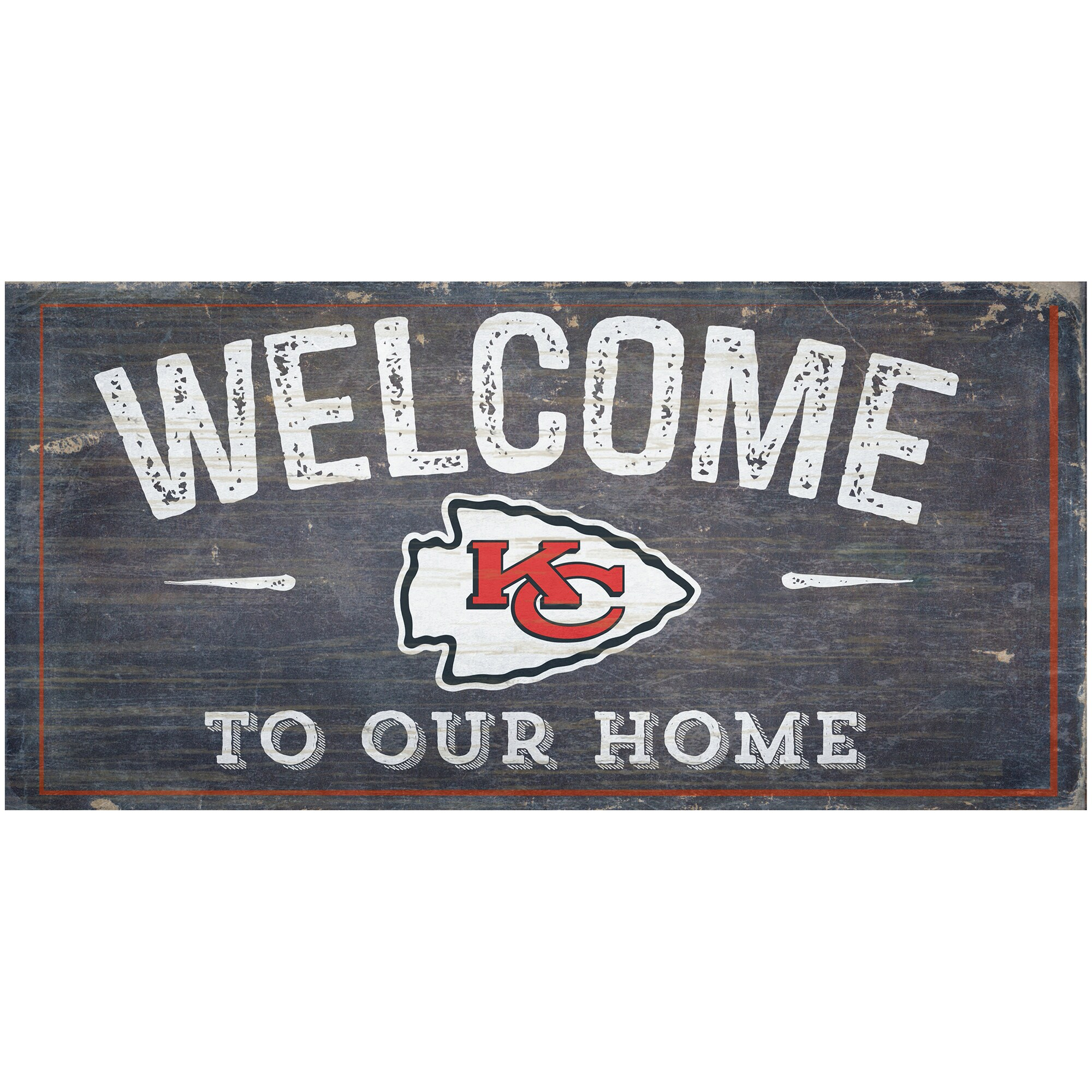 "Kansas City Chiefs 6"" x 12"" Welcome To Our Home Sign"
