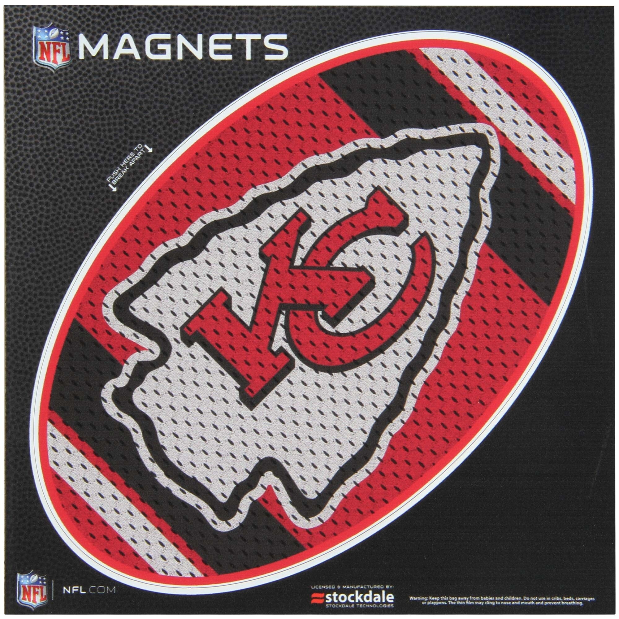 "Kansas City Chiefs Jersey 6"" x 6"" Oval Full Color Magnet"