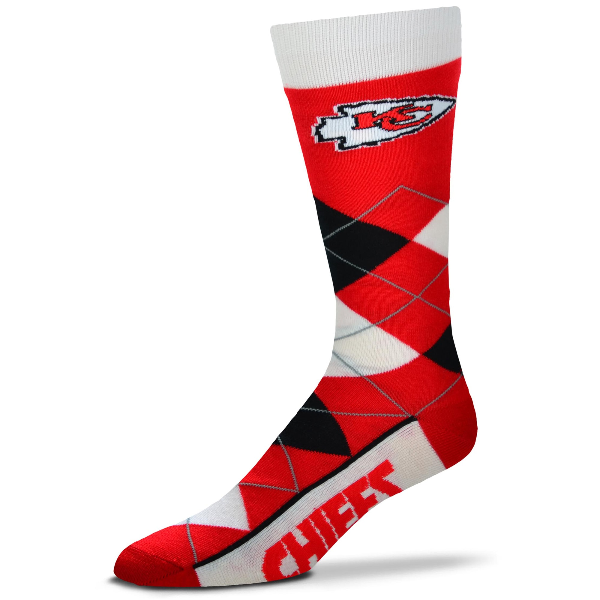 Kansas City Chiefs For Bare Feet Argyle Crew Socks