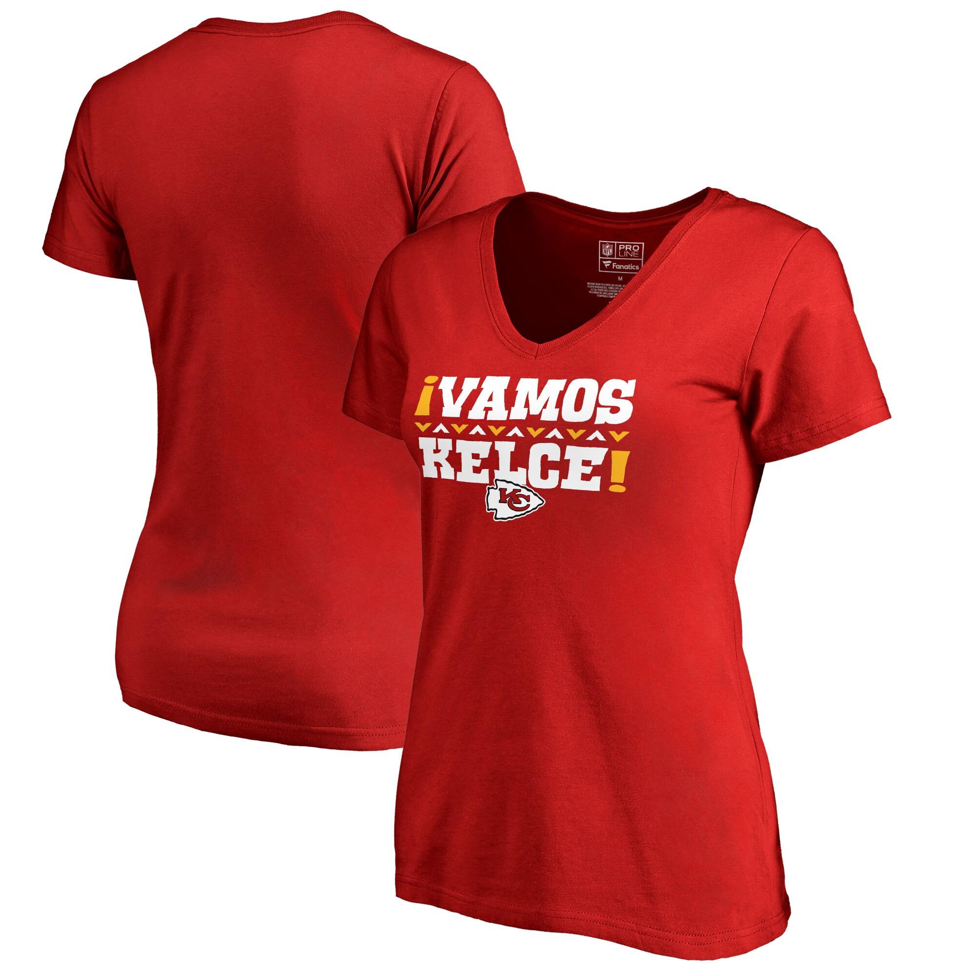 Travis Kelce Kansas City Chiefs NFL Pro Line by Fanatics Branded Women's Vamos V-Neck T-Shirt - Red