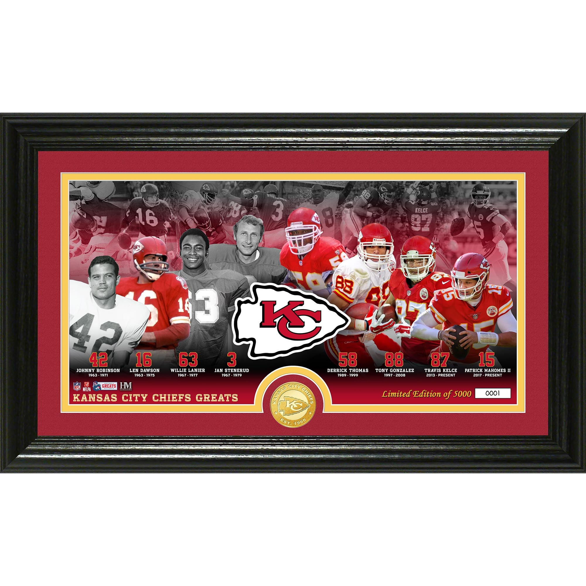 Kansas City Chiefs Highland Mint 12'' x 20'' Franchise Greats Panoramic Bronze Coin Photo Mint