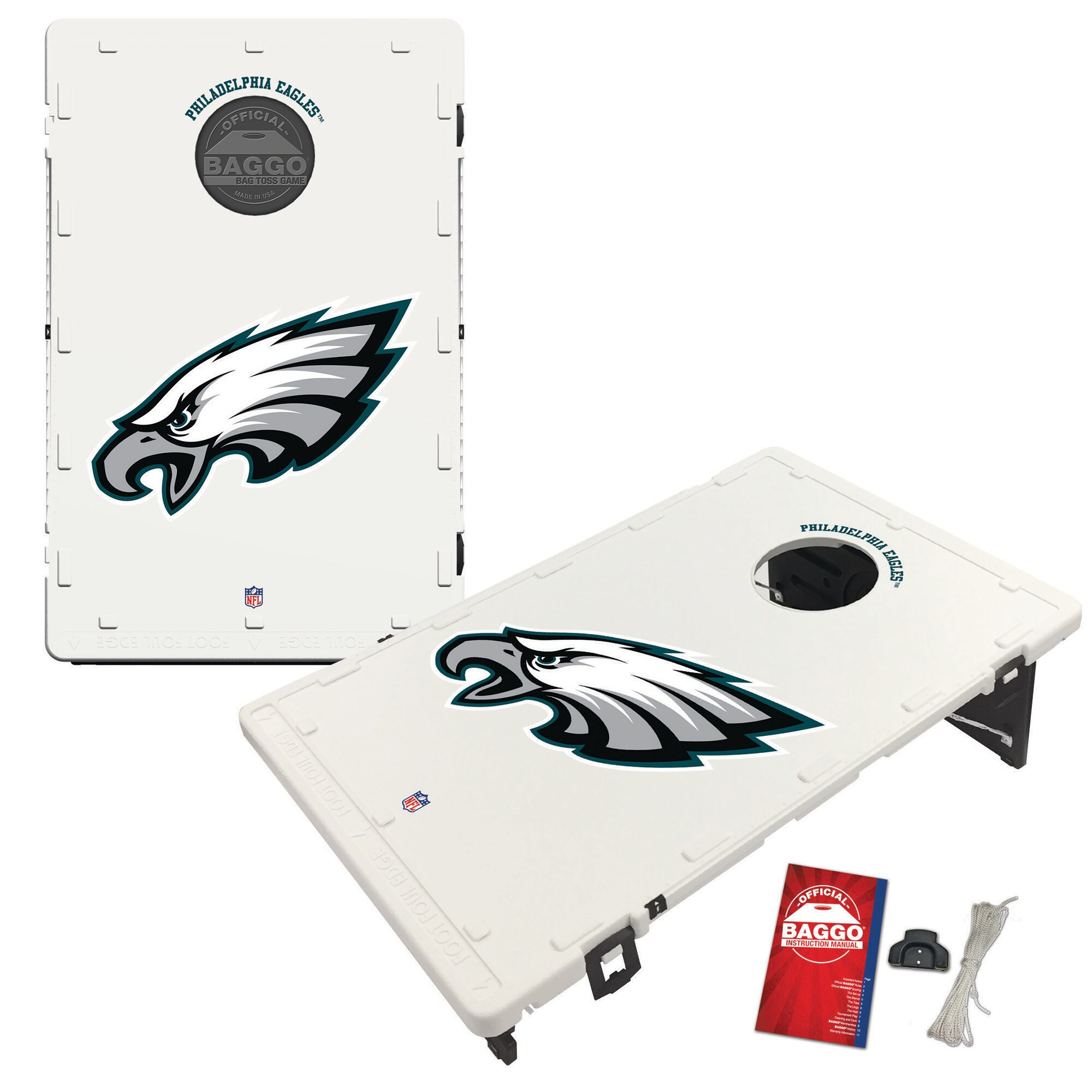 Philadelphia Eagles 2' x 3' Classic Design BAGGO Cornhole Board Tailgate Toss Set
