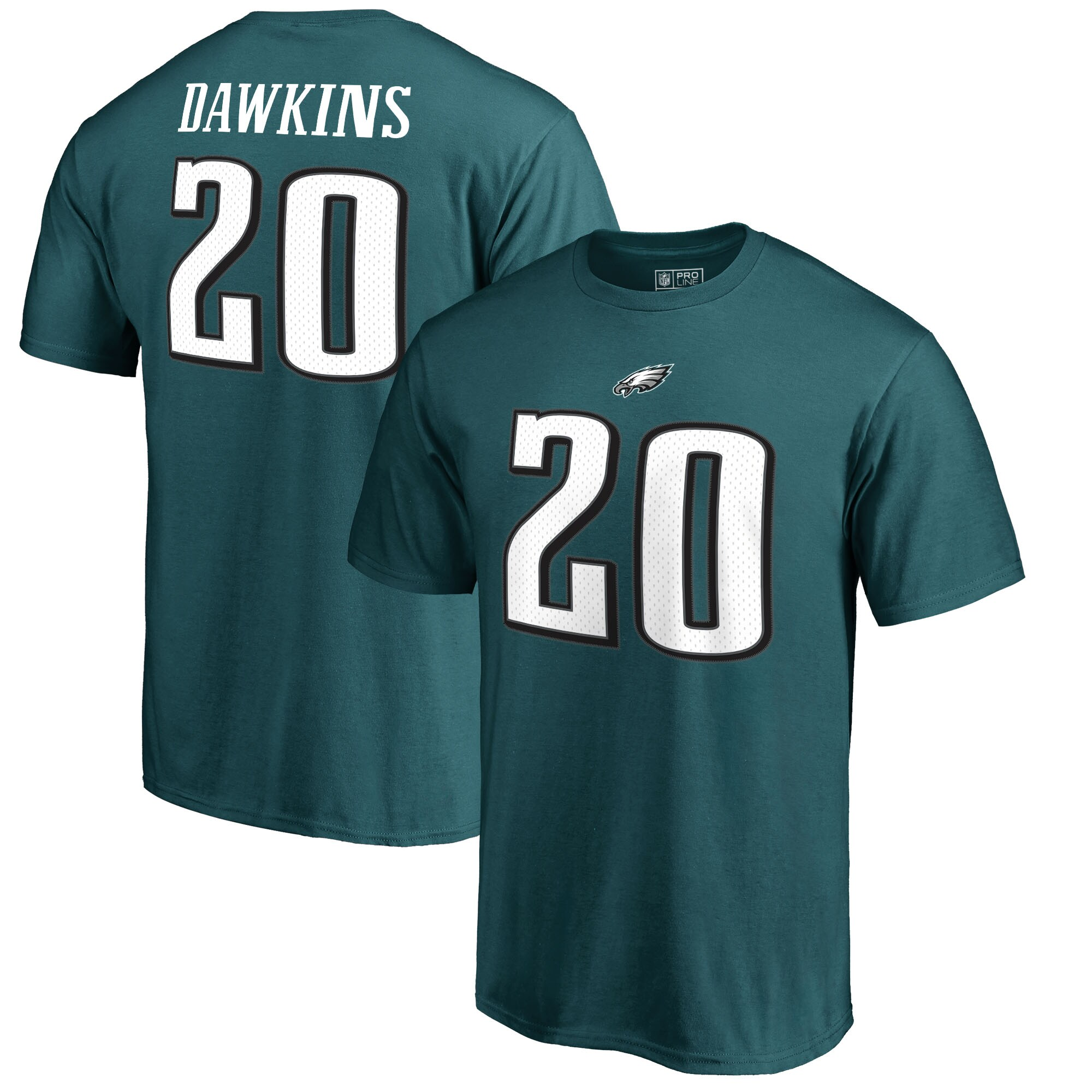 Brian Dawkins Philadelphia Eagles NFL Pro Line by Fanatics Branded Retired Player Authentic Stack Name & Number T-Shirt - Midnight Green