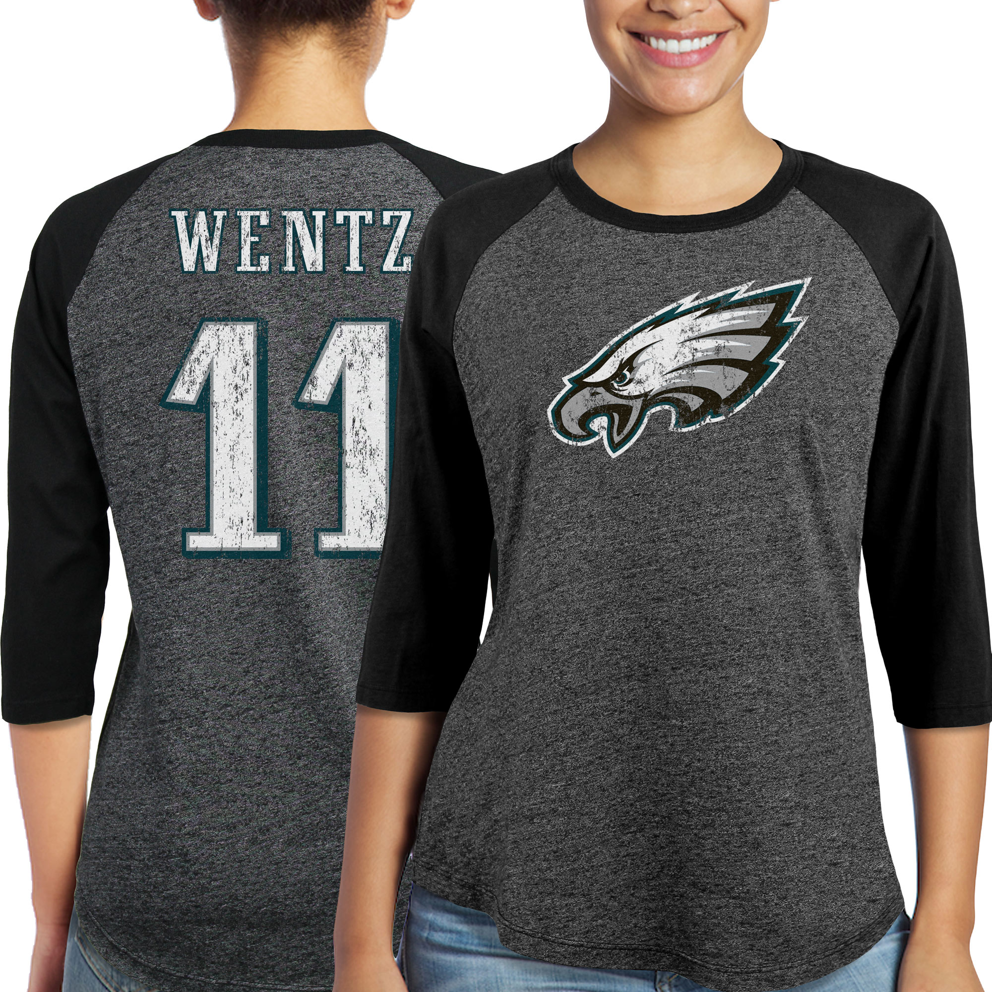 Carson Wentz Philadelphia Eagles Majestic Women's Player Name & Number Tri-Blend Three-Quarter Sleeve T-Shirt - Black