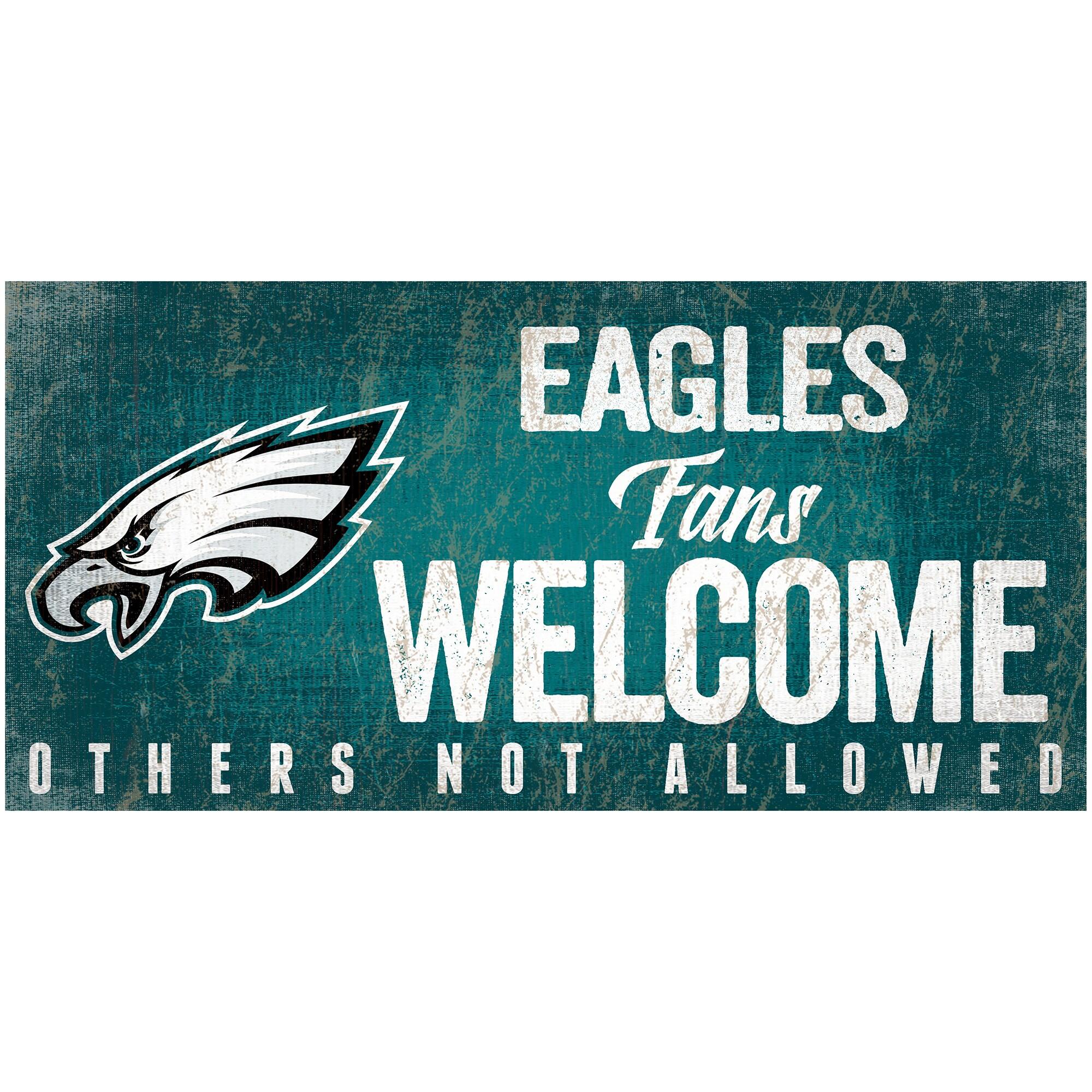 "Philadelphia Eagles 6"" x 12"" Fans Welcome Sign"