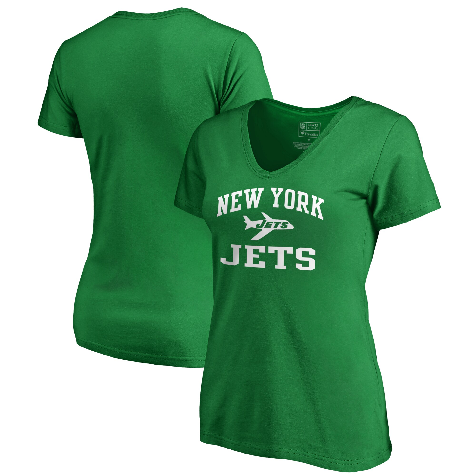 New York Jets NFL Pro Line by Fanatics Branded Women's Vintage Collection Victory Arch V-Neck T-Shirt - Kelly Green
