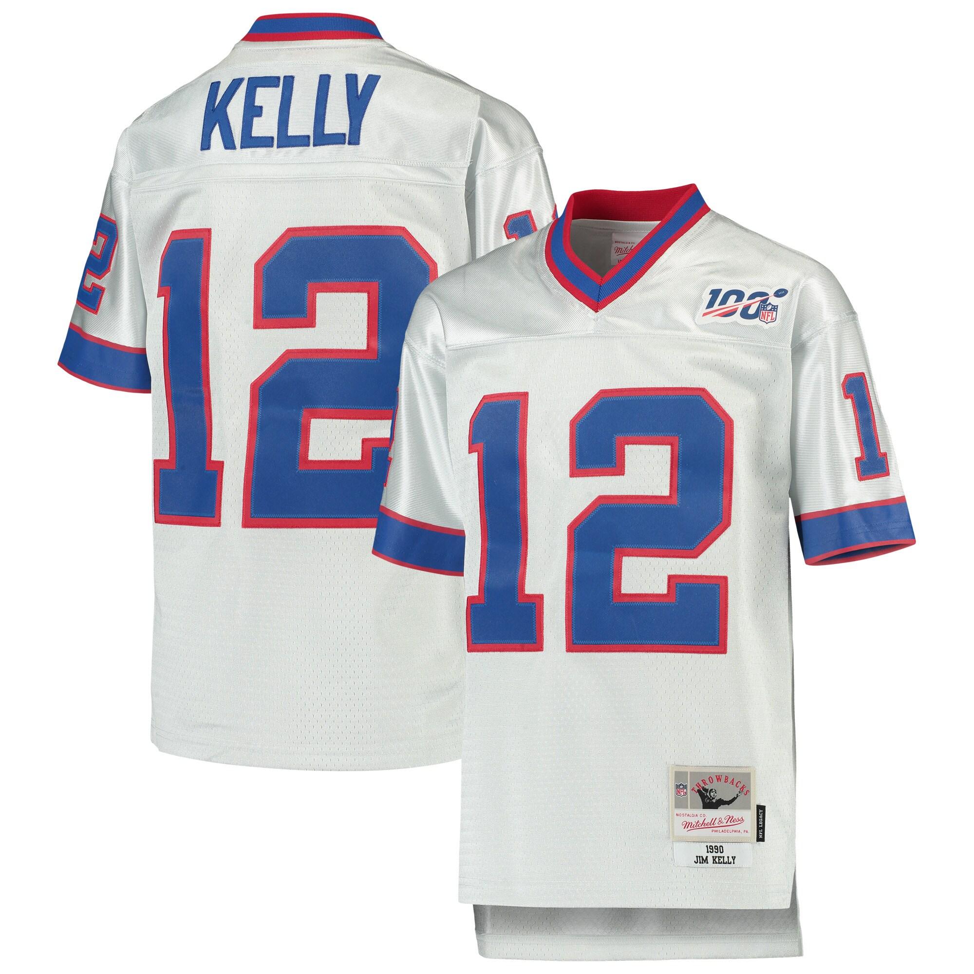 Jim Kelly Buffalo Bills Mitchell & Ness Youth NFL 100 Retired Player Legacy Jersey - Platinum