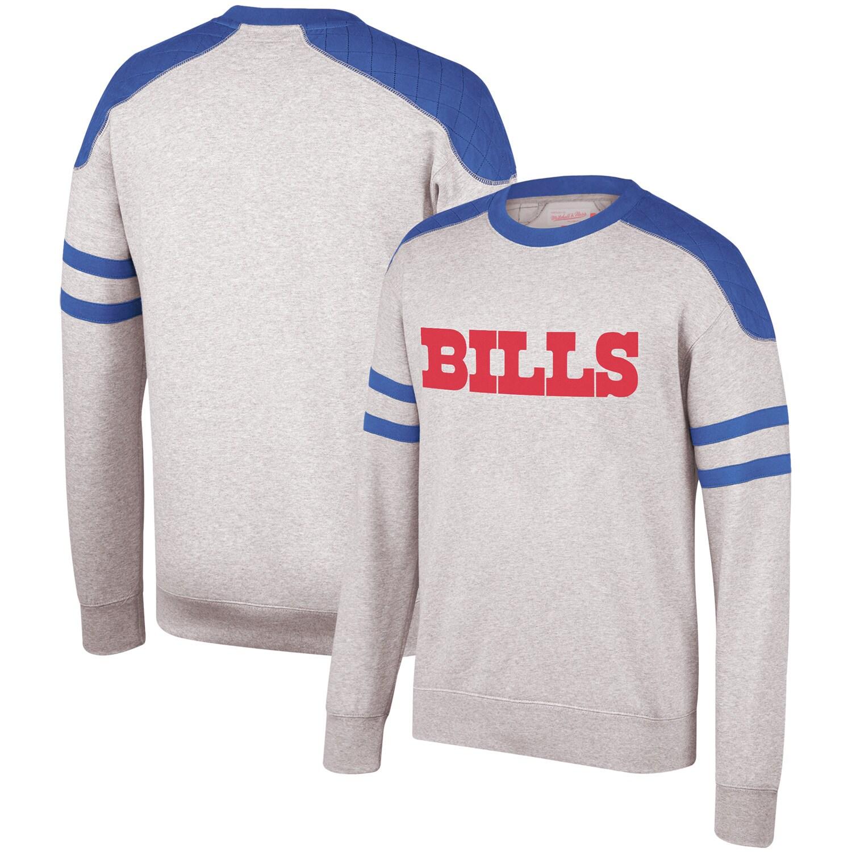 Buffalo Bills Mitchell & Ness Post Season Run Crew Sweatshirt - Heathered Gray