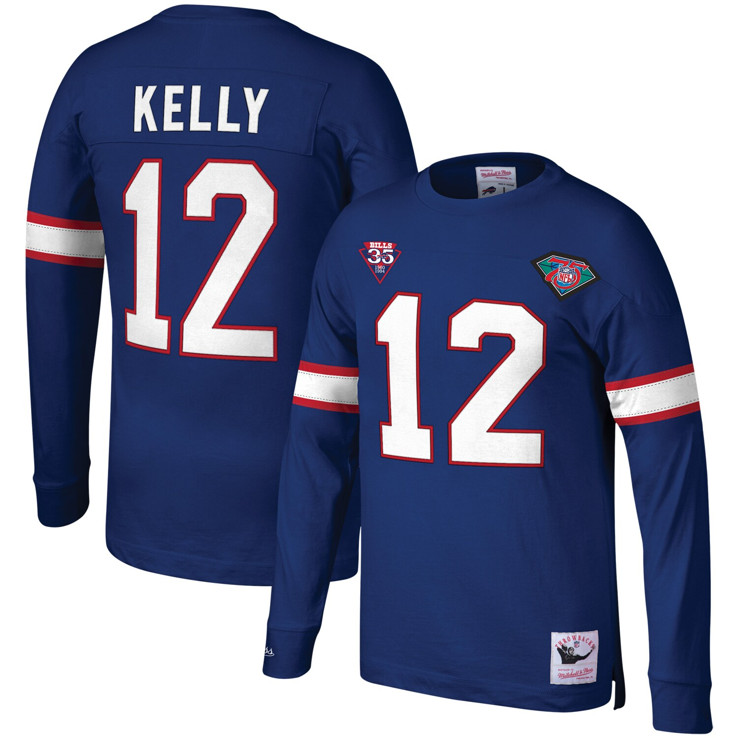 Jim Kelly Buffalo Bills Mitchell & Ness Retired Player Name & Number Long Sleeve Top - Royal