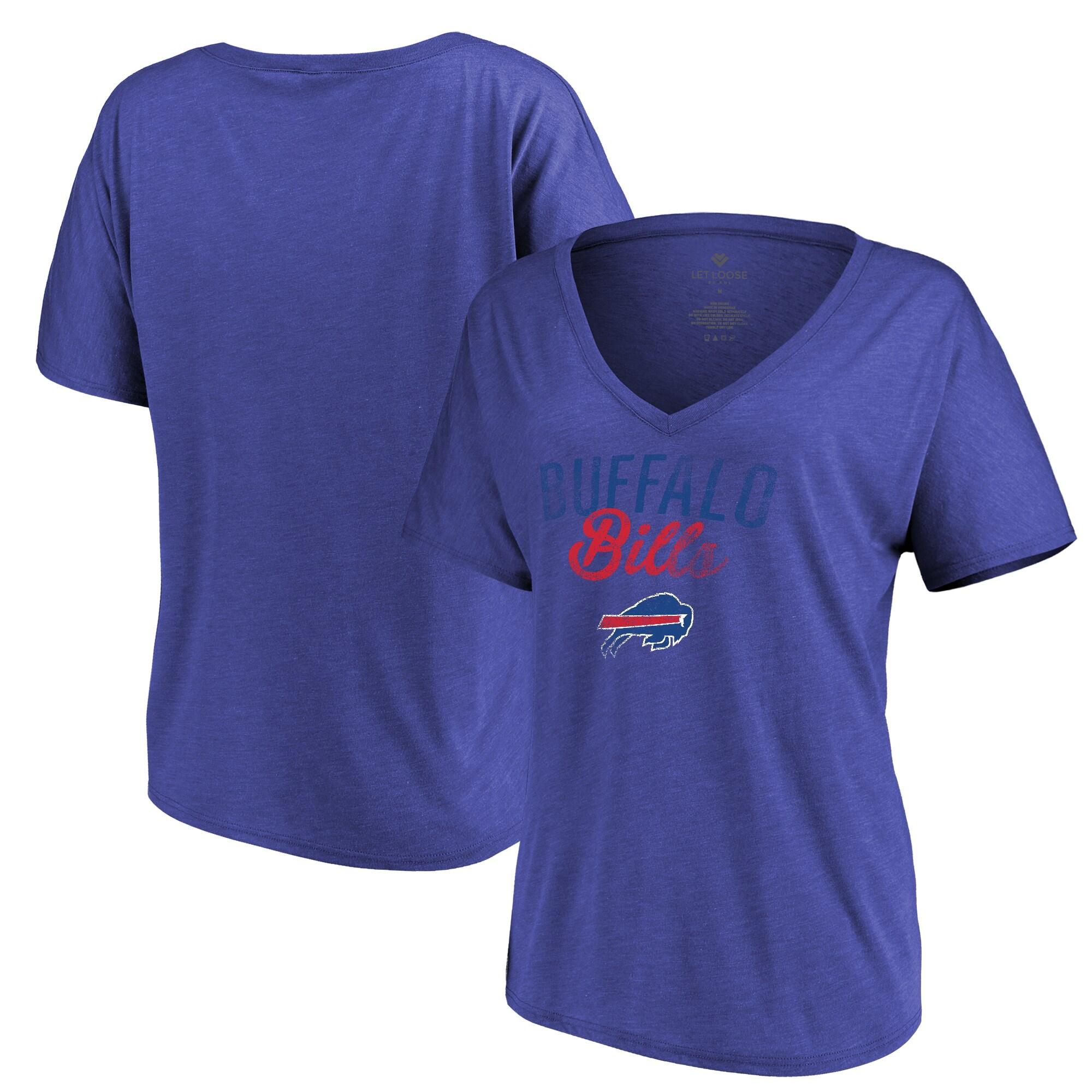 Buffalo Bills Let Loose by RNL Women's Endless V-Neck T-Shirt - Heathered Royal