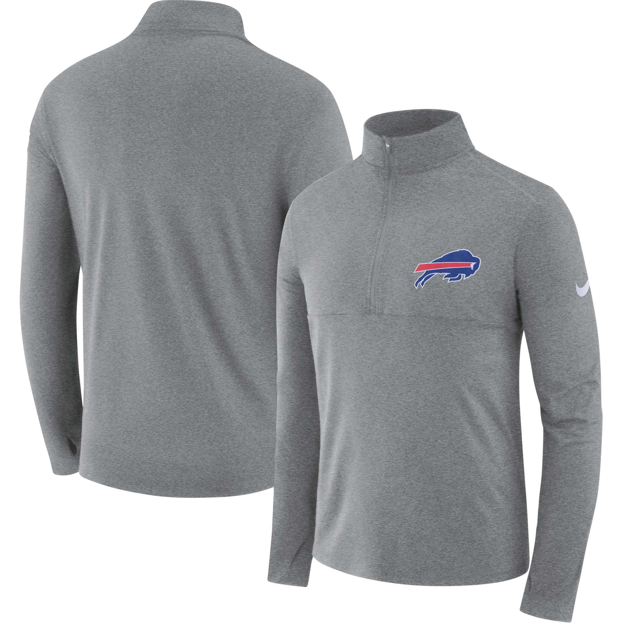 Buffalo Bills Nike Fan Gear Element Half-Zip Performance Jacket - Heather Gray